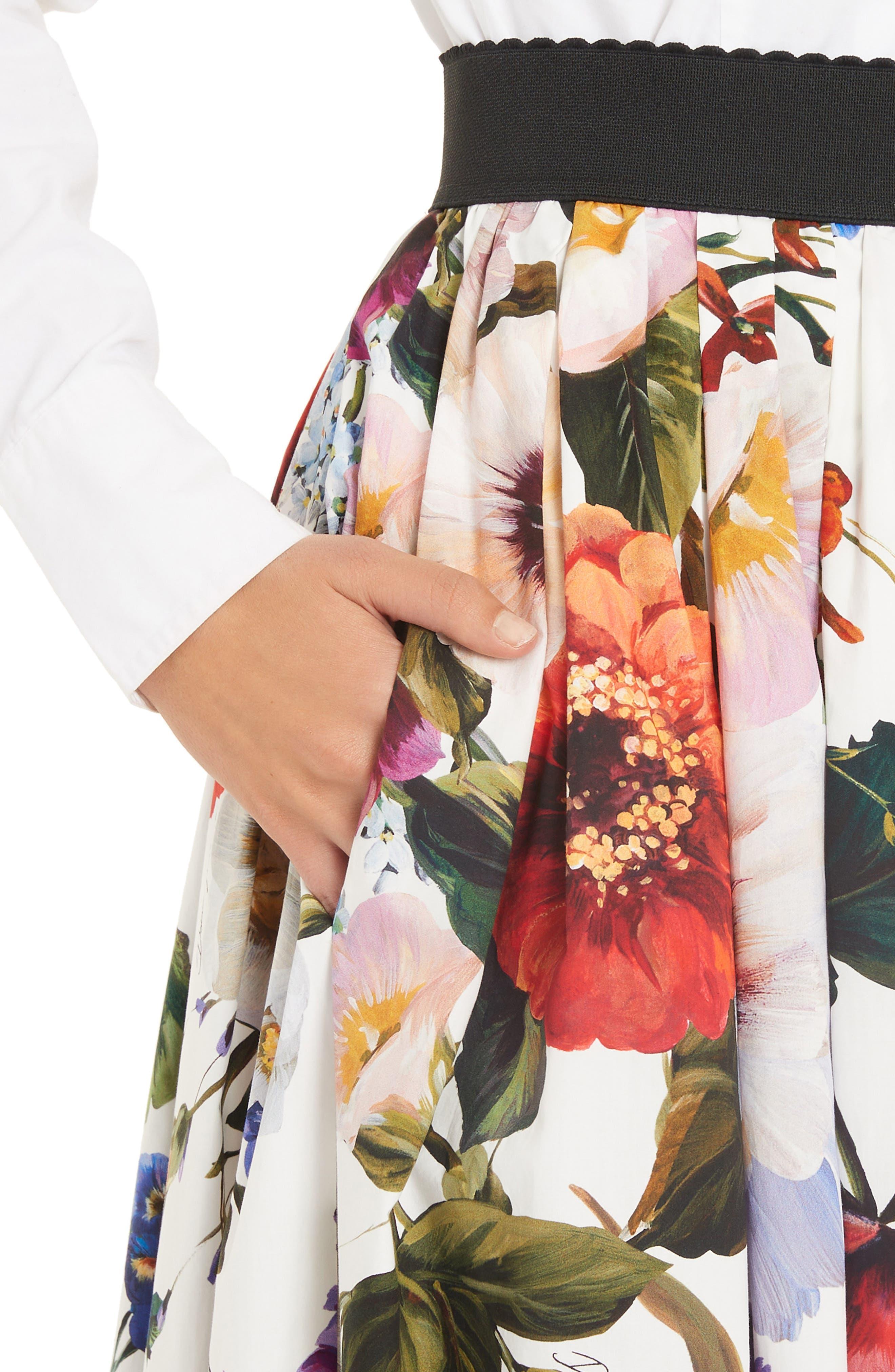 DOLCE&GABBANA, Floral Print A-Line Poplin Midi Skirt, Alternate thumbnail 4, color, PRINT
