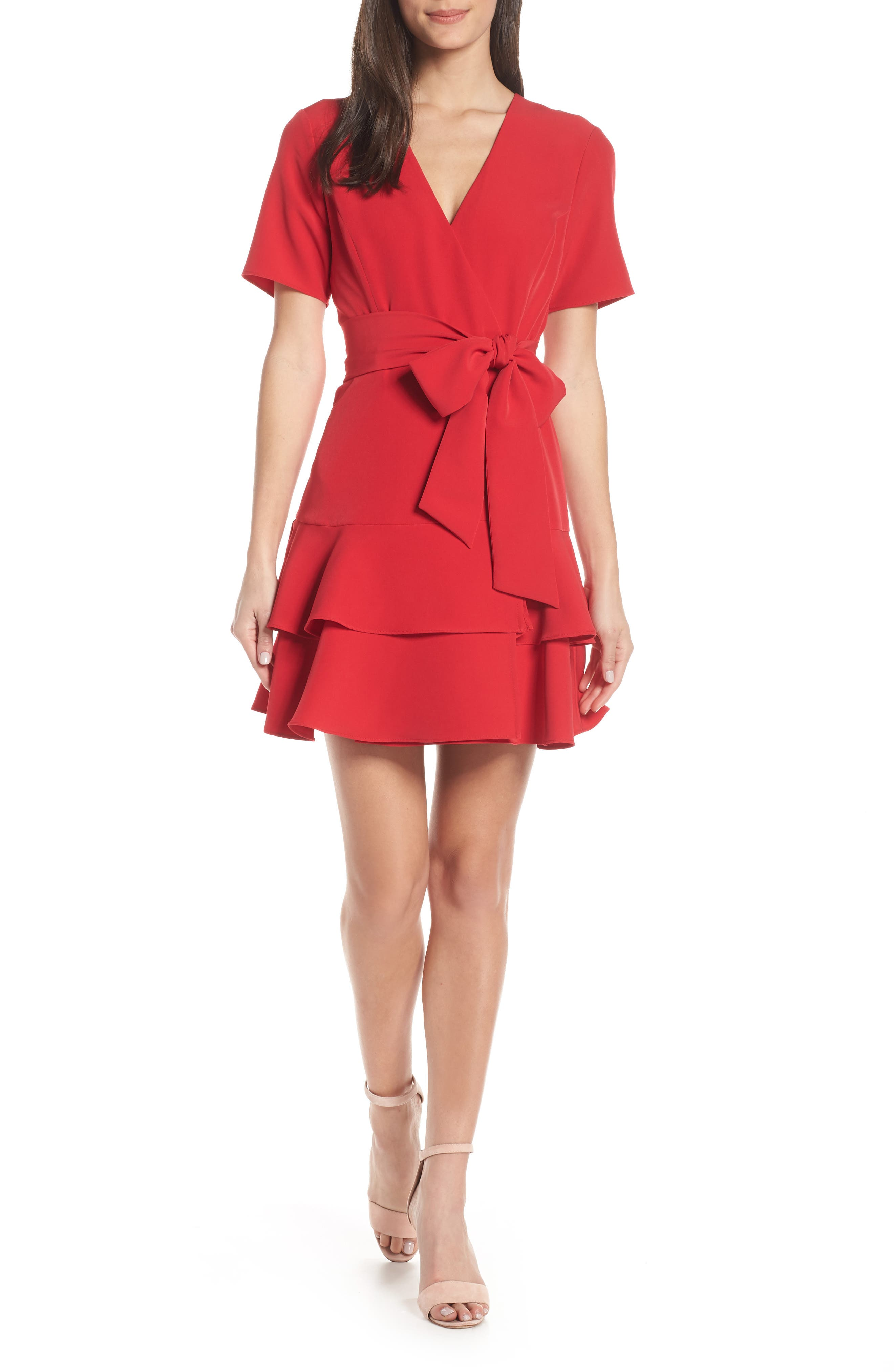 CHARLES HENRY, Ruffle Tiered Wrap Dress, Main thumbnail 1, color, SCARLET