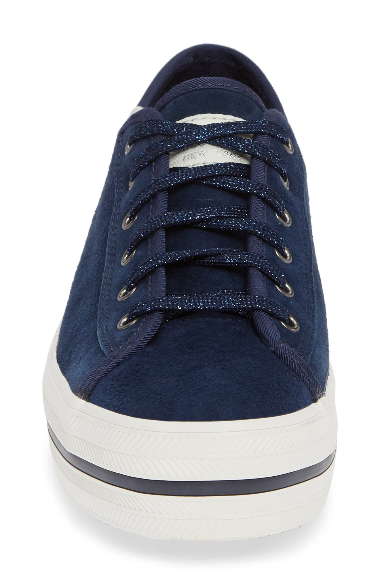 KEDS<SUP>®</SUP> FOR KATE SPADE NEW YORK, Keds<sup>®</sup> x kate spade new york triple kicks platform sneaker, Alternate thumbnail 4, color, NAVY SUEDE