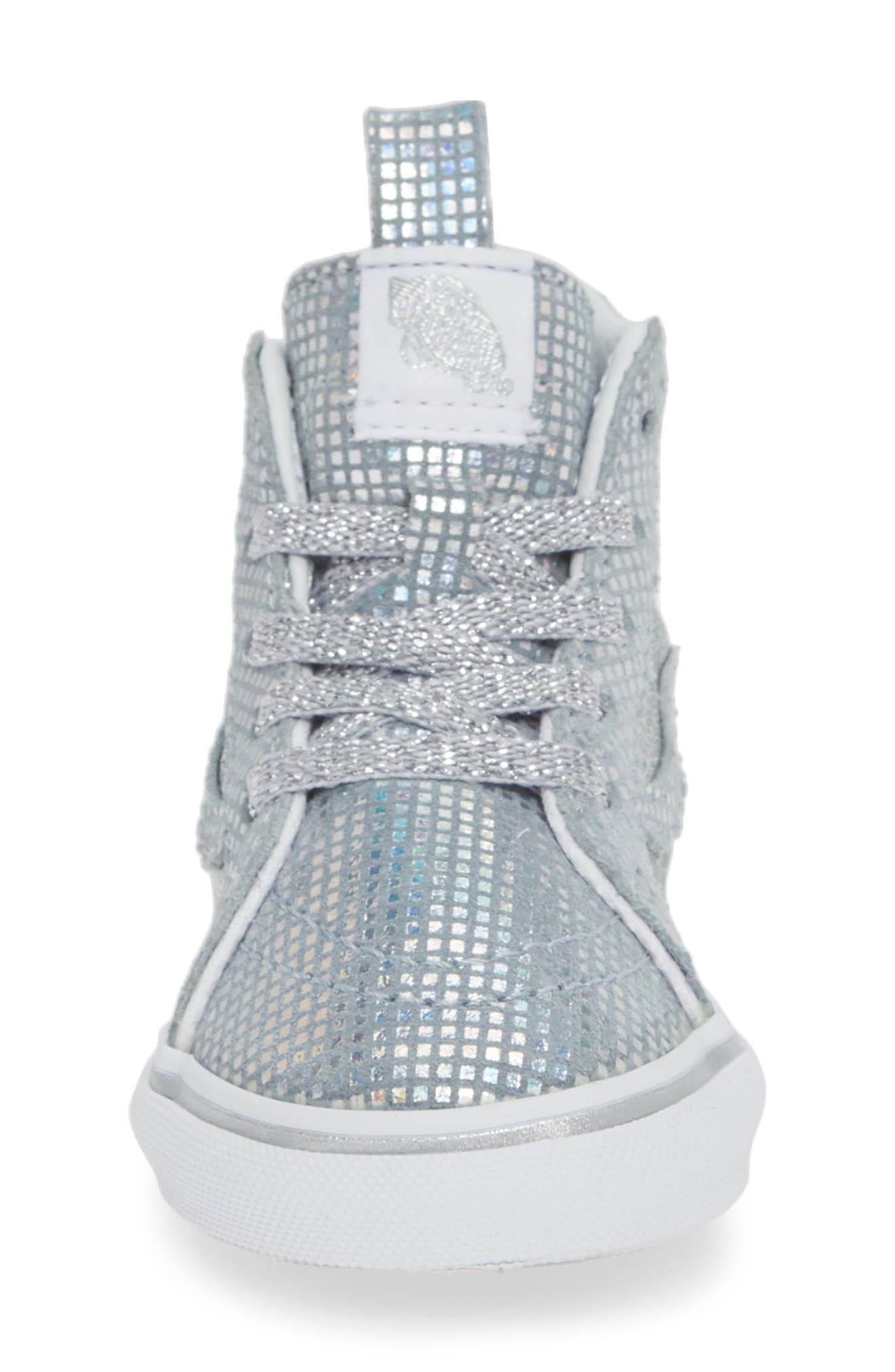 VANS, SK8-Hi Zip Sparkle Sneaker, Alternate thumbnail 4, color, METALLIC SILVER GLITTER