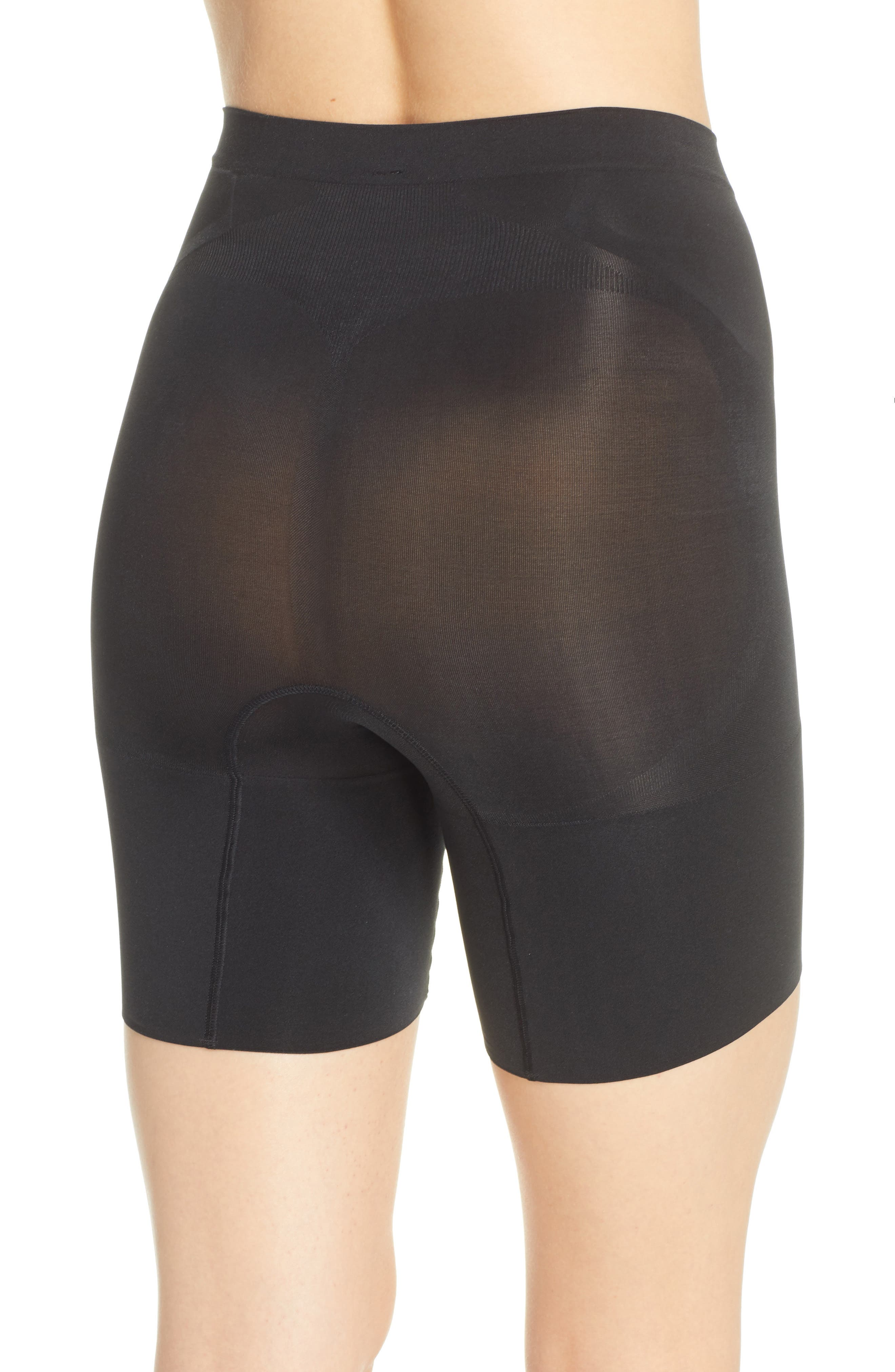 SPANX<SUP>®</SUP>, OnCore Mid Thigh Shorts, Alternate thumbnail 3, color, BLACK