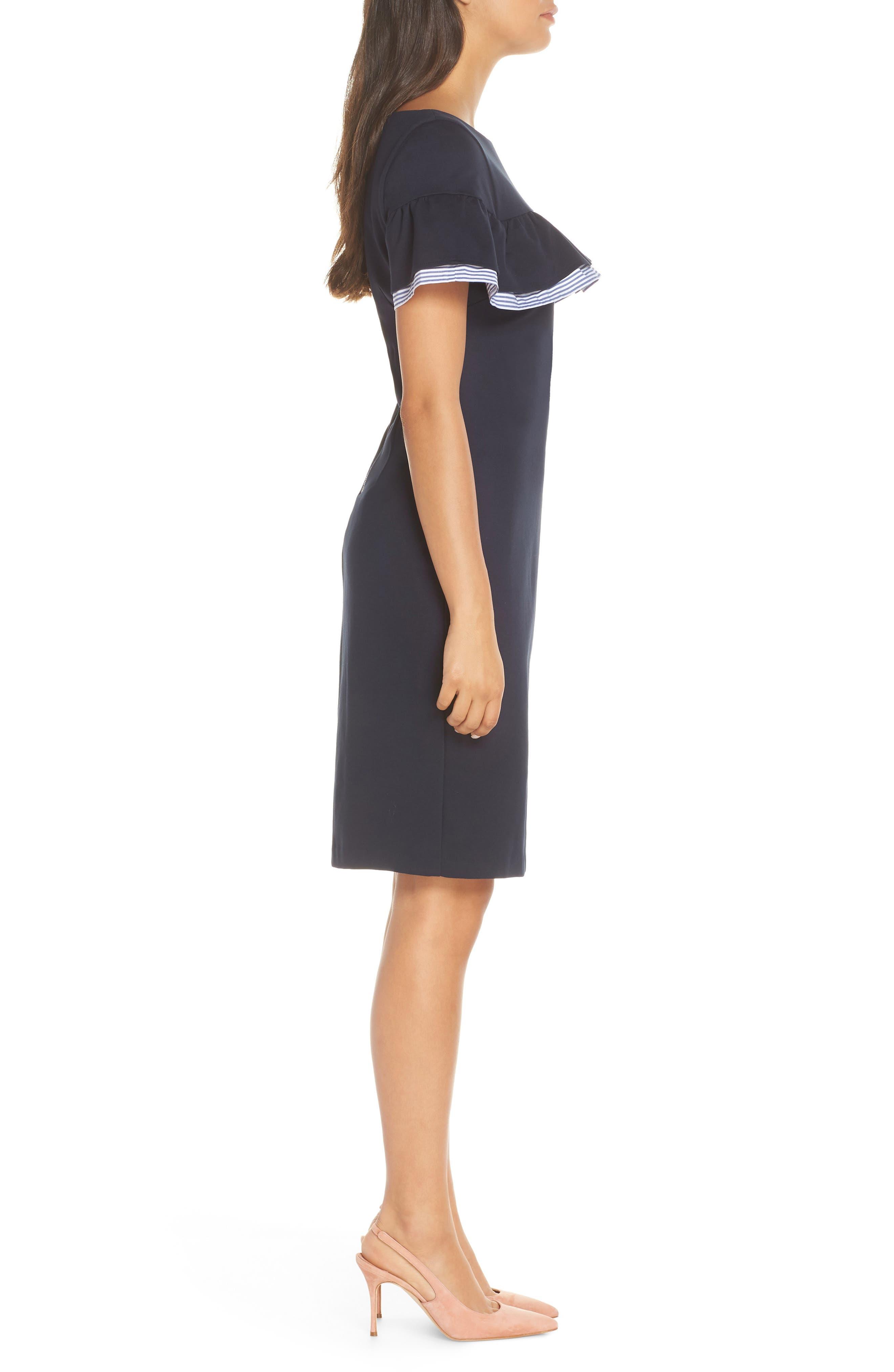ELIZA J, Ruffle Detail Sheath Dress, Alternate thumbnail 4, color, 410