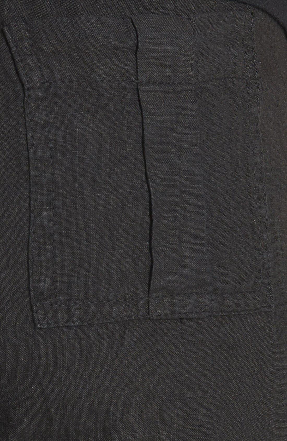 SOLOW, Wide Leg Linen Pants, Alternate thumbnail 2, color, 001