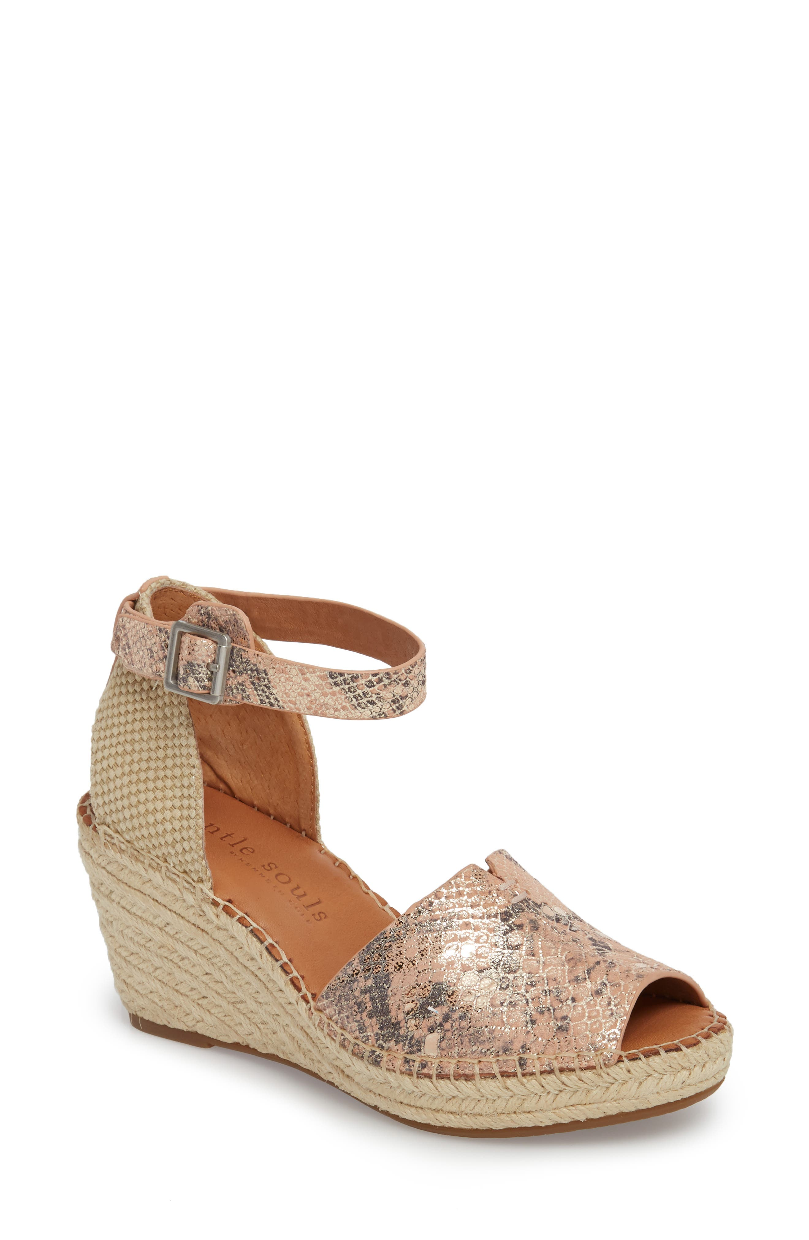 GENTLE SOULS BY KENNETH COLE, Charli Espadrille Wedge, Main thumbnail 1, color, ROSE METALLIC LEATHER