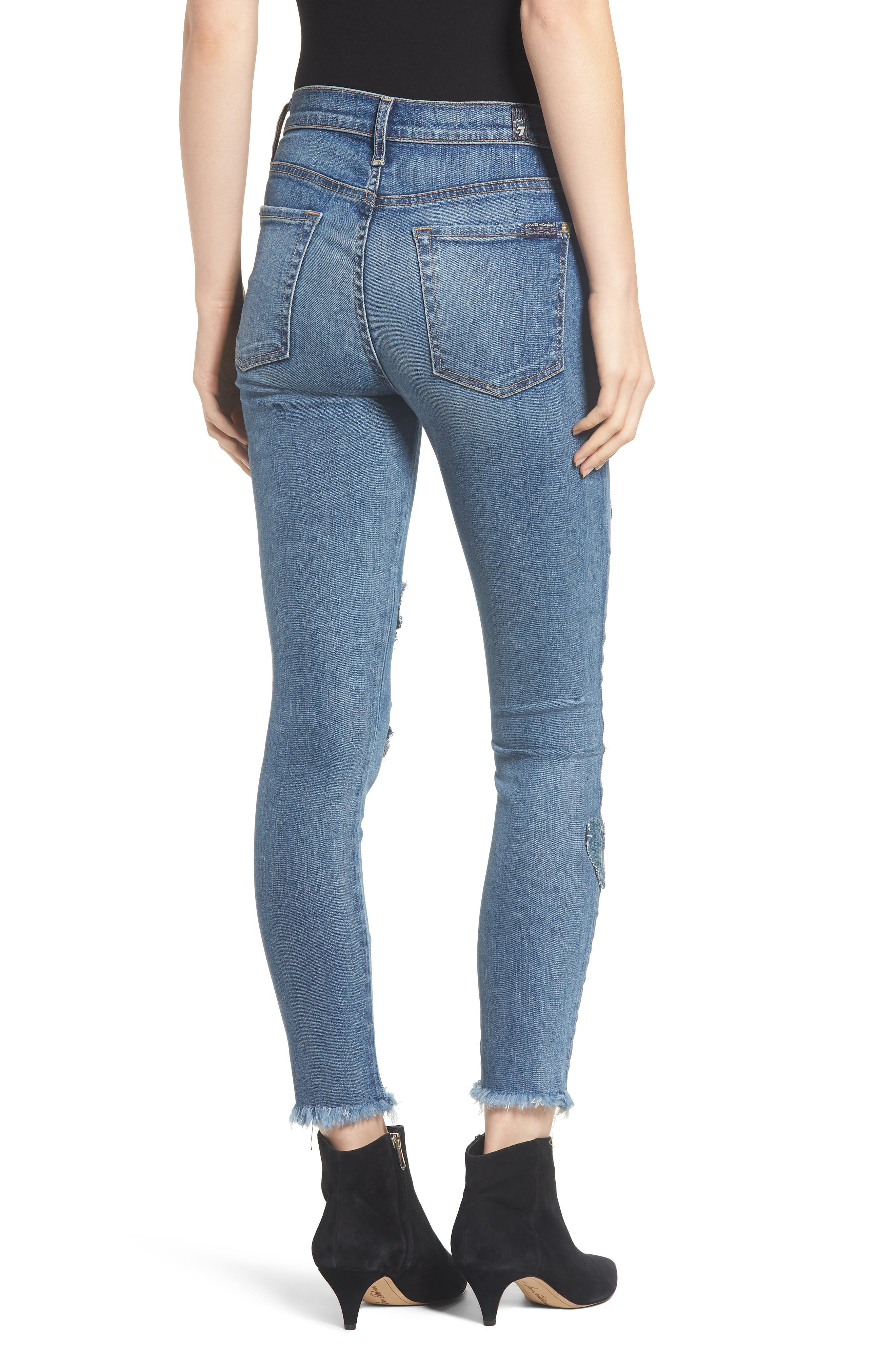 7 FOR ALL MANKIND<SUP>®</SUP>, Heart Patch Ankle Skinny Jeans, Alternate thumbnail 2, color, INDIGO SPRINGS