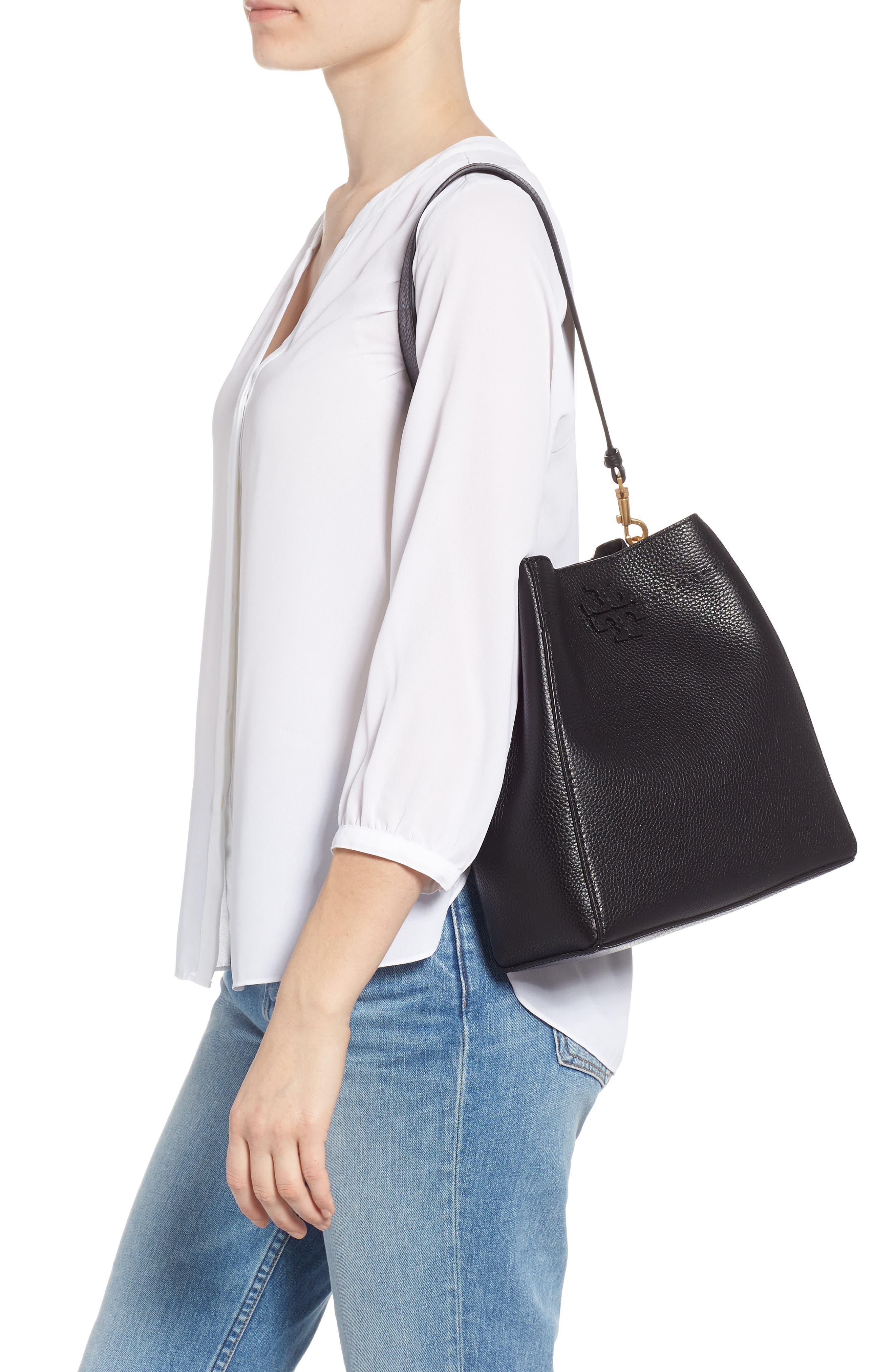 TORY BURCH, McGraw Leather Hobo, Alternate thumbnail 4, color, BLACK