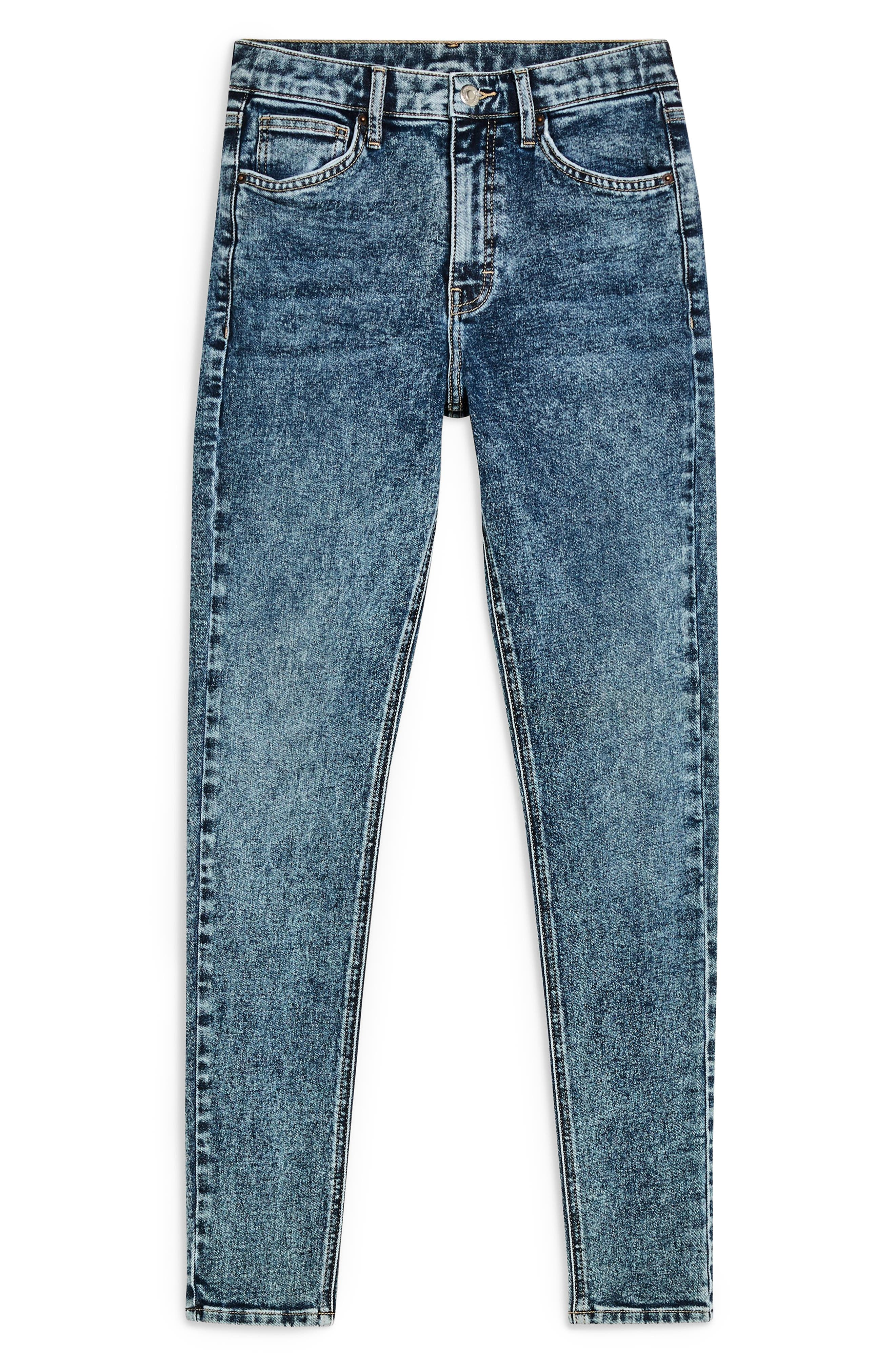 TOPSHOP, Jamie Acid Wash Skinny Jeans, Alternate thumbnail 3, color, INDIGO