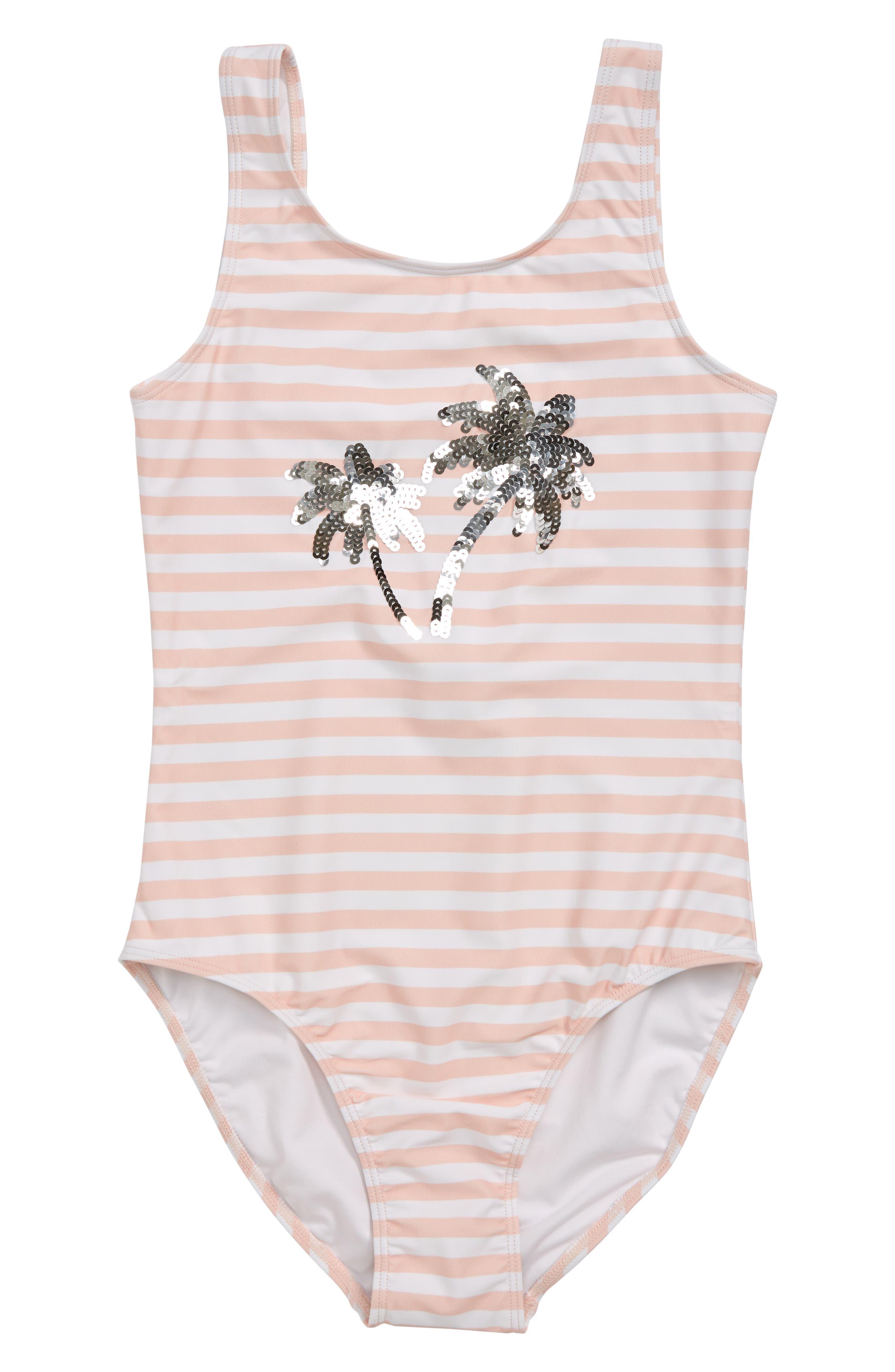 Girls Tucker  Tate Sequins OnePiece Swimsuit