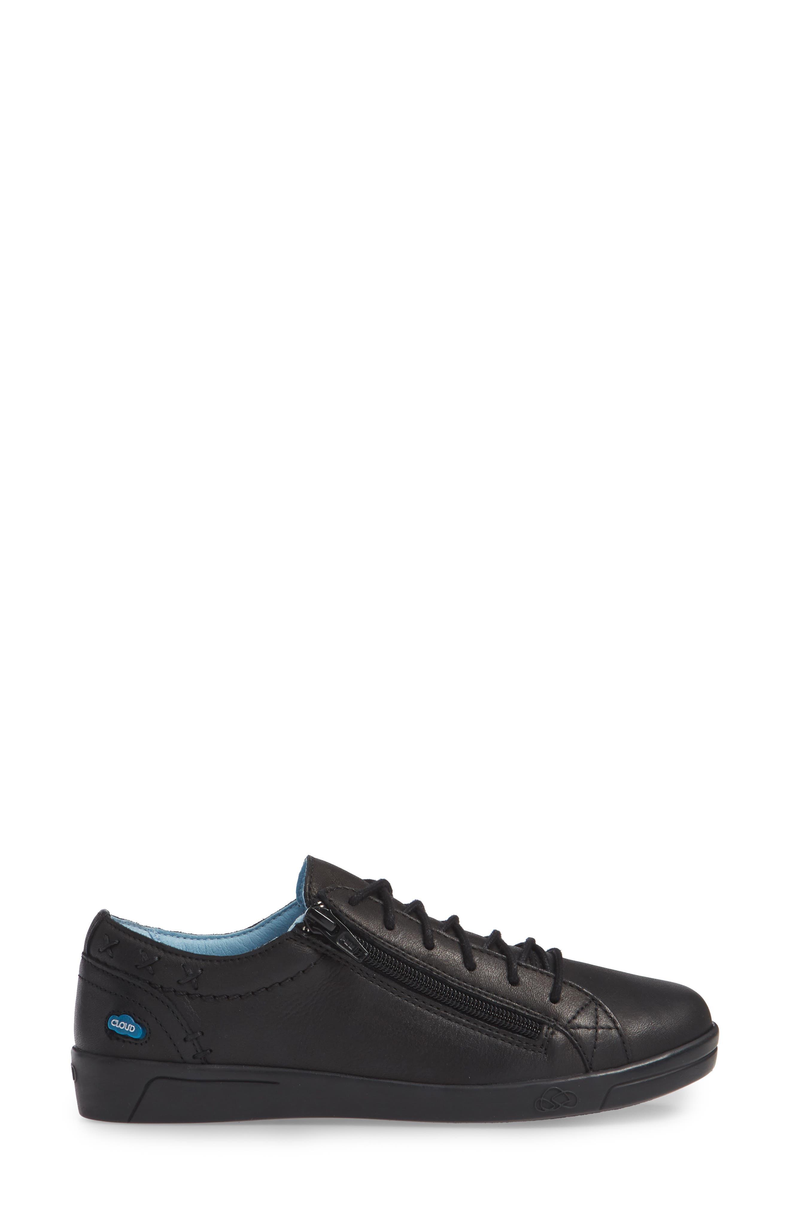 CLOUD, 'Aika' Leather Sneaker, Alternate thumbnail 3, color, 004