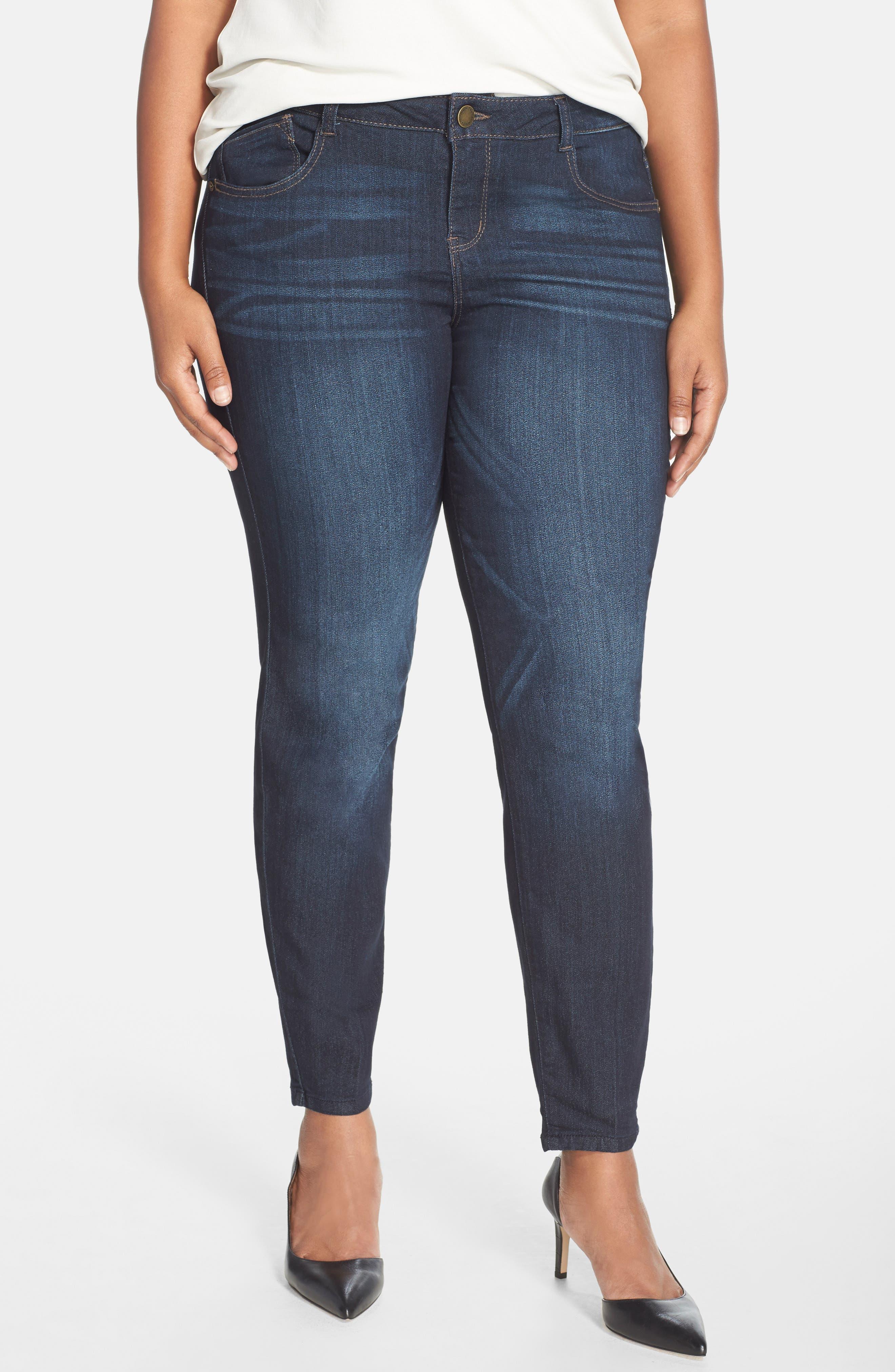 WIT & WISDOM 'Super Smooth' Stretch Skinny Jeans, Main, color, DARK NAVY