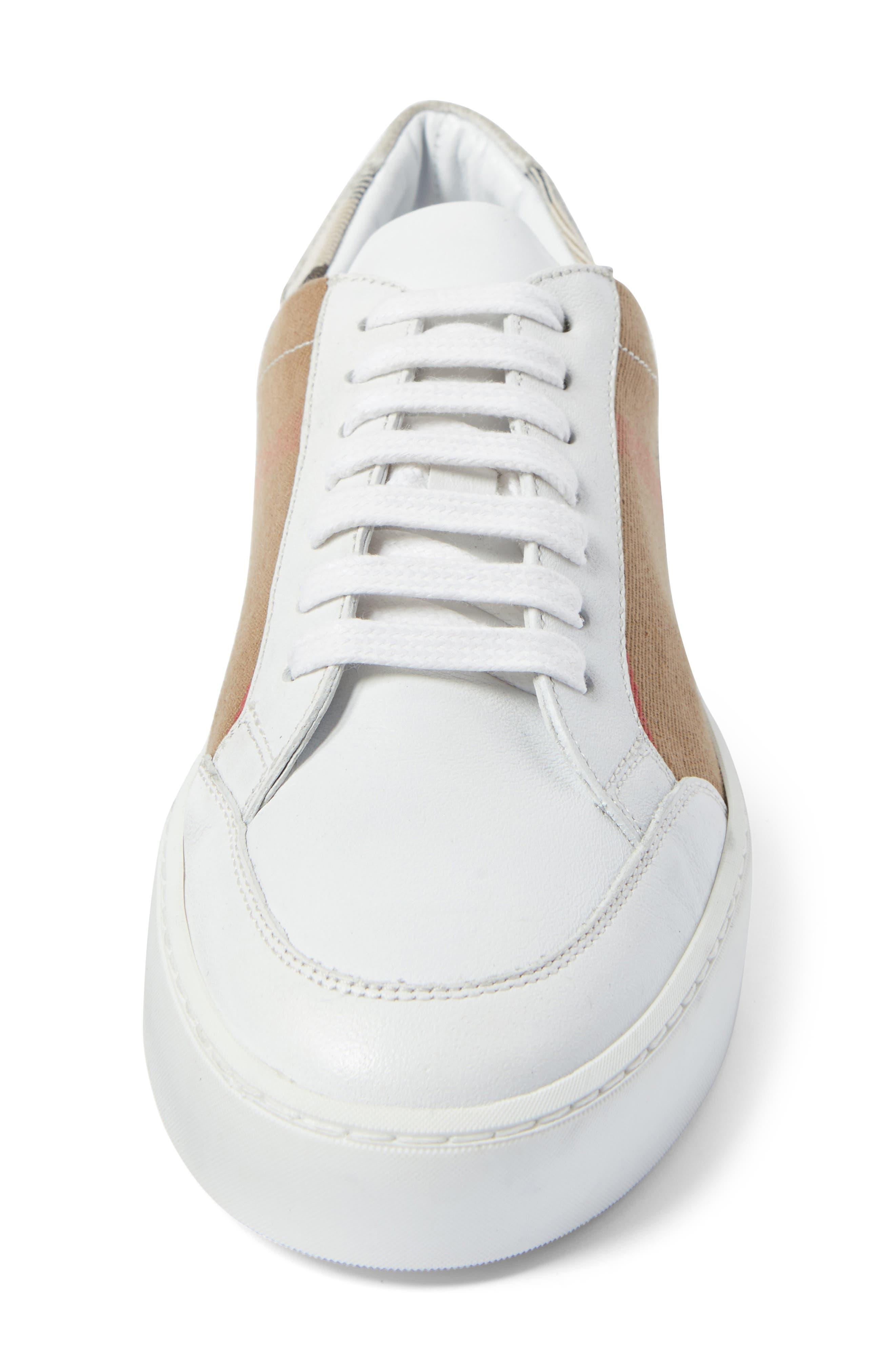 BURBERRY, Salmond Sneaker, Alternate thumbnail 4, color, WHITE