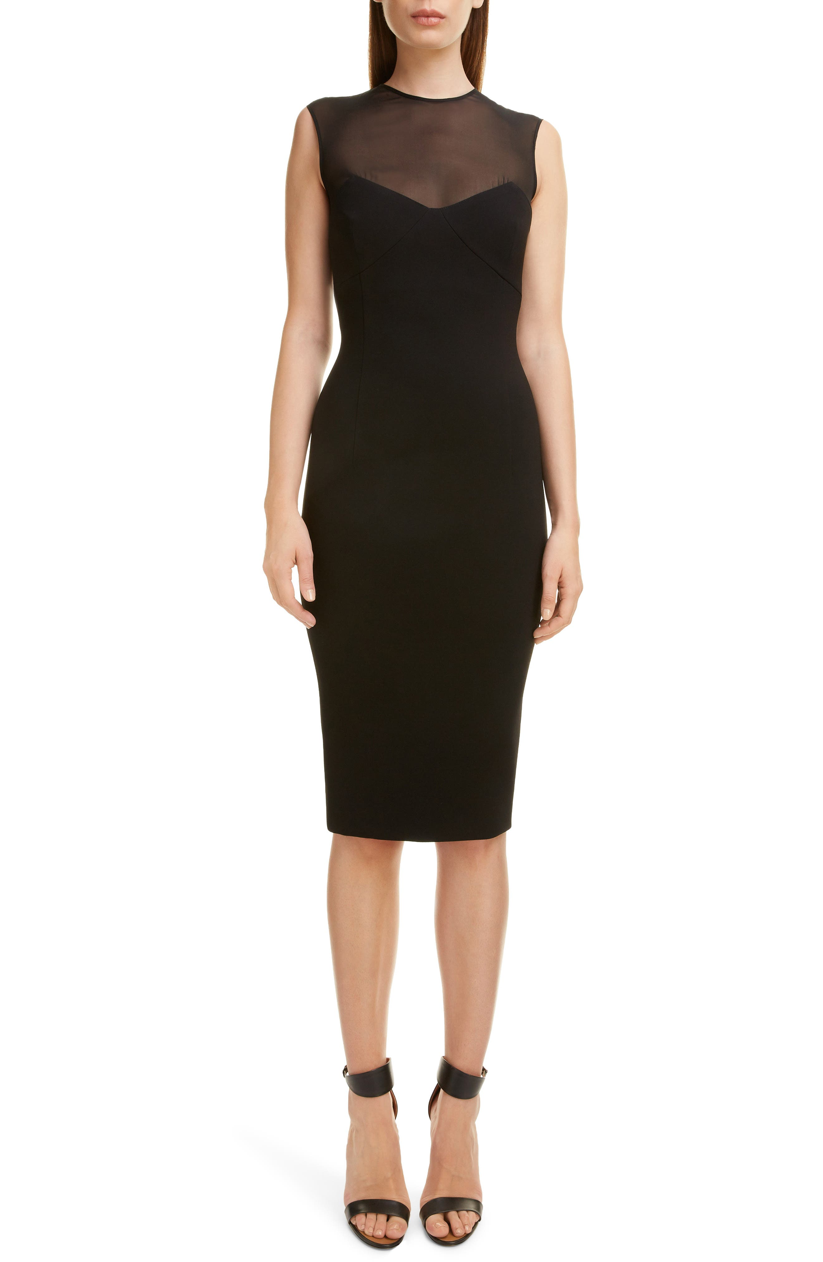 VICTORIA BECKHAM, Sheer Yoke Sheath Dress, Main thumbnail 1, color, BLACK
