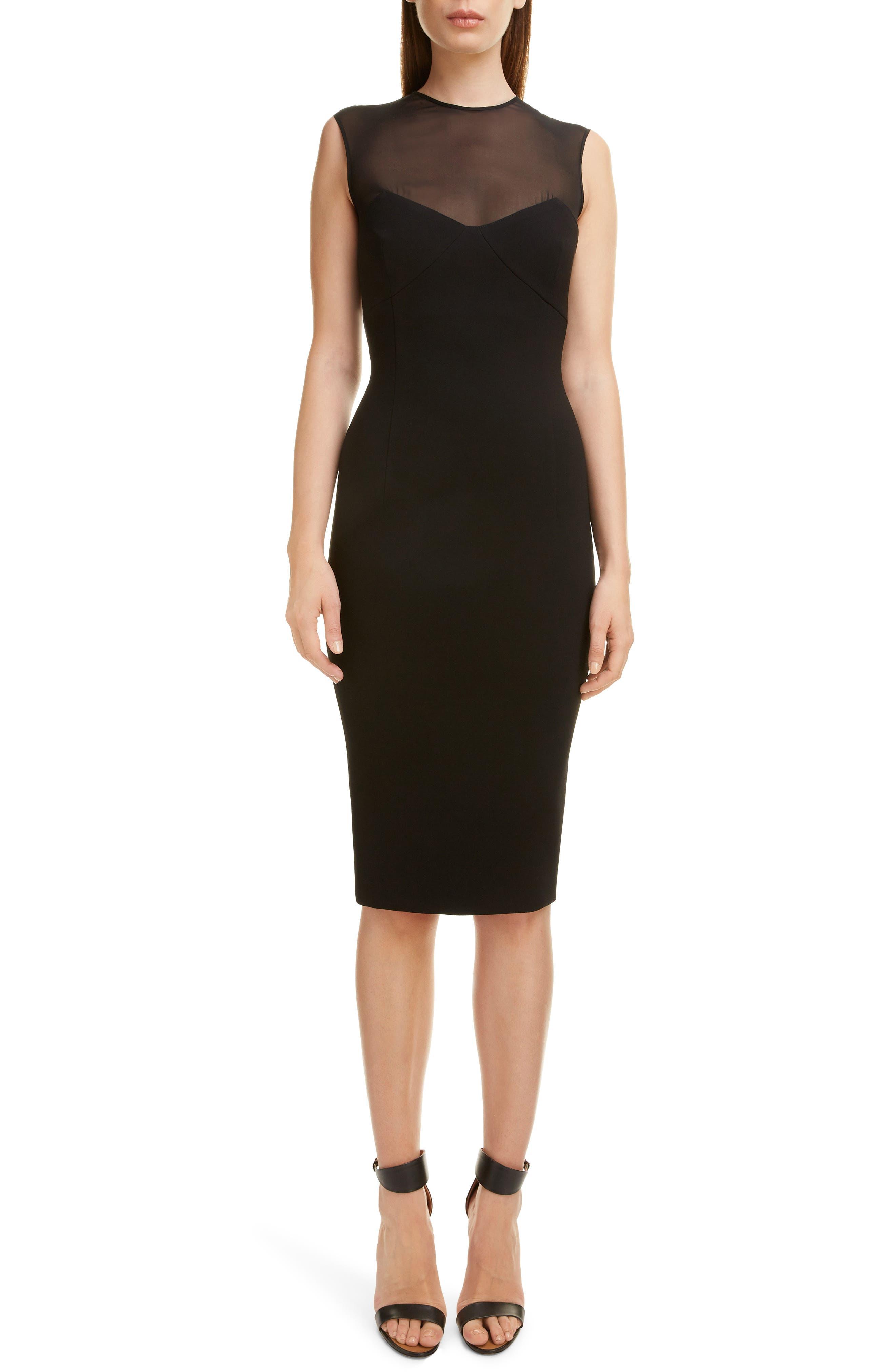 VICTORIA BECKHAM Sheer Yoke Sheath Dress, Main, color, BLACK