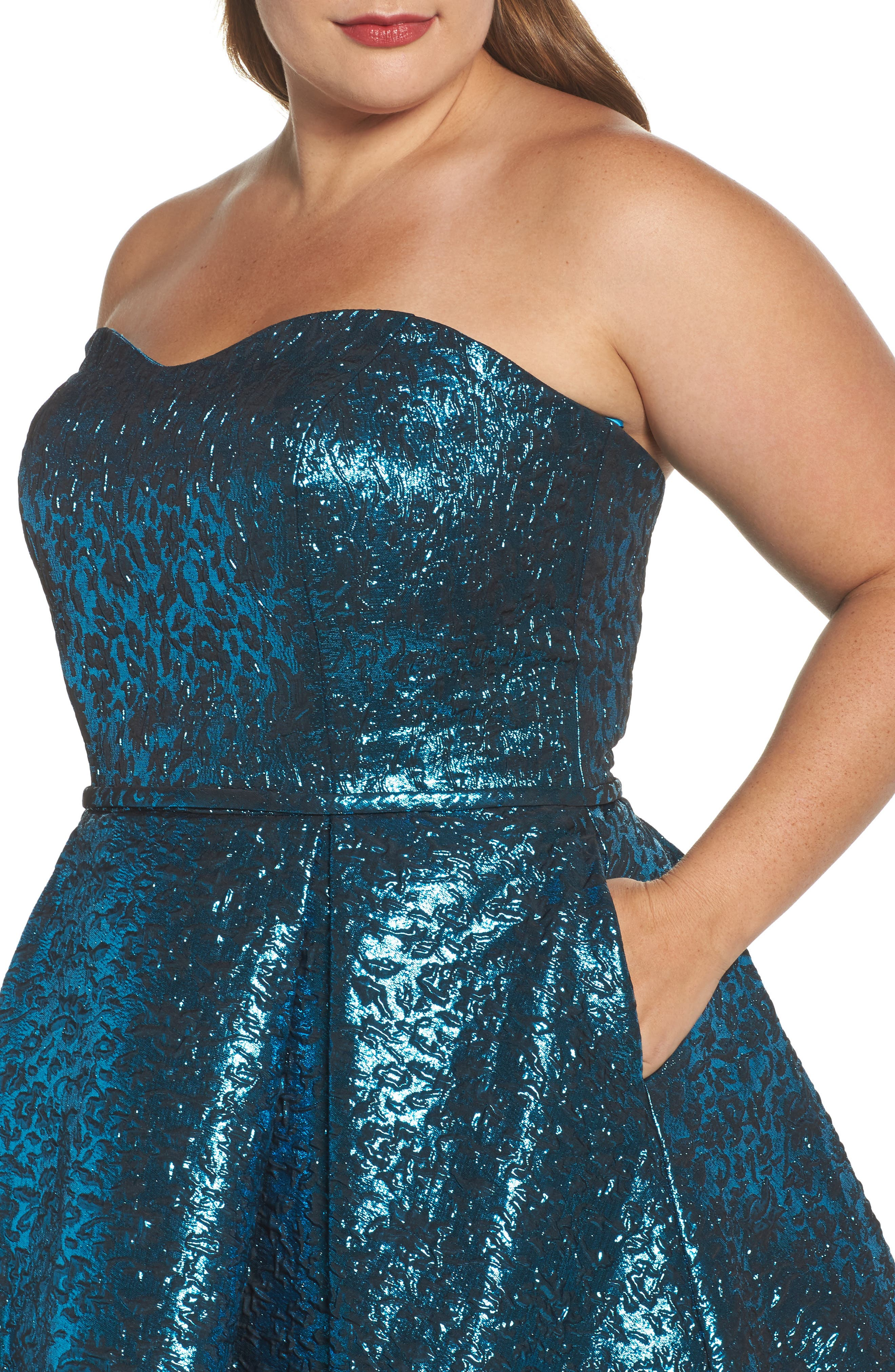MAC DUGGAL, Metallic Fit & Flare Dress, Alternate thumbnail 4, color, TURQUOISE