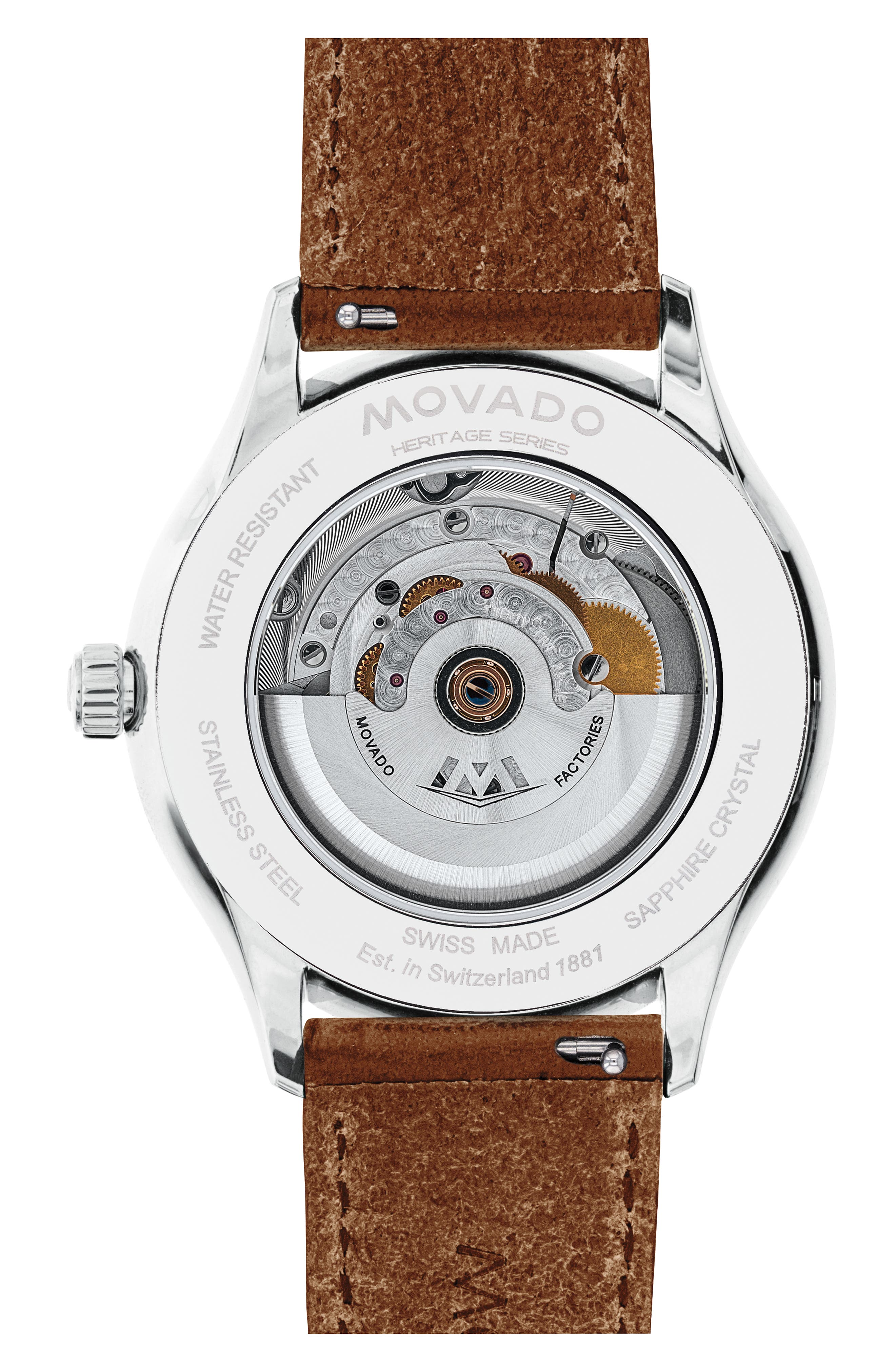 MOVADO, Heritage Leather Strap Watch, 40mm, Alternate thumbnail 2, color, COGNAC/ BLACK/ SILVER