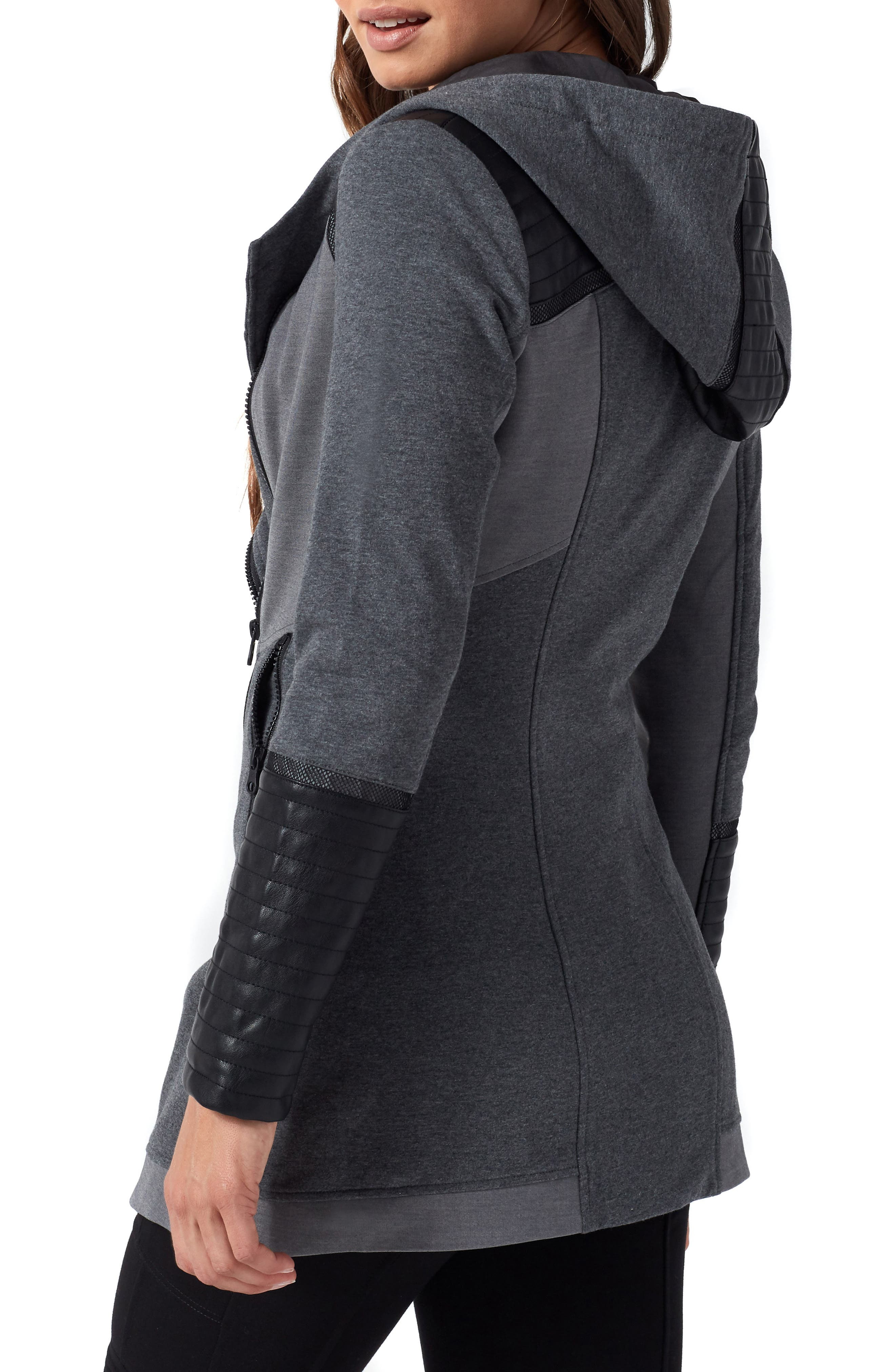 BLANC NOIR, Traveller Mesh Inset Jacket, Alternate thumbnail 4, color, CHARCOAL