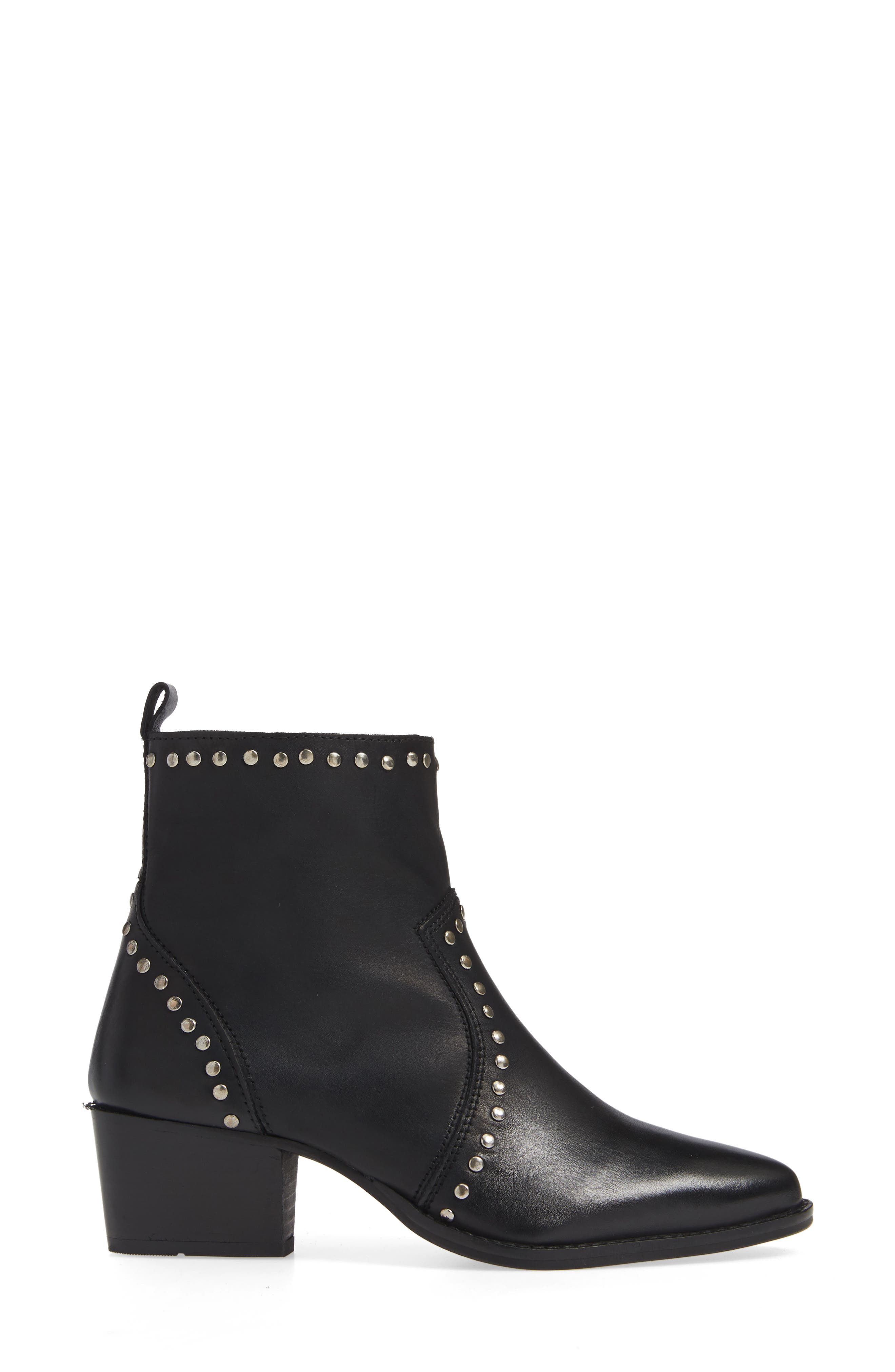 CHARLES BY CHARLES DAVID, Zye Bootie, Alternate thumbnail 3, color, BLACK LEATHER