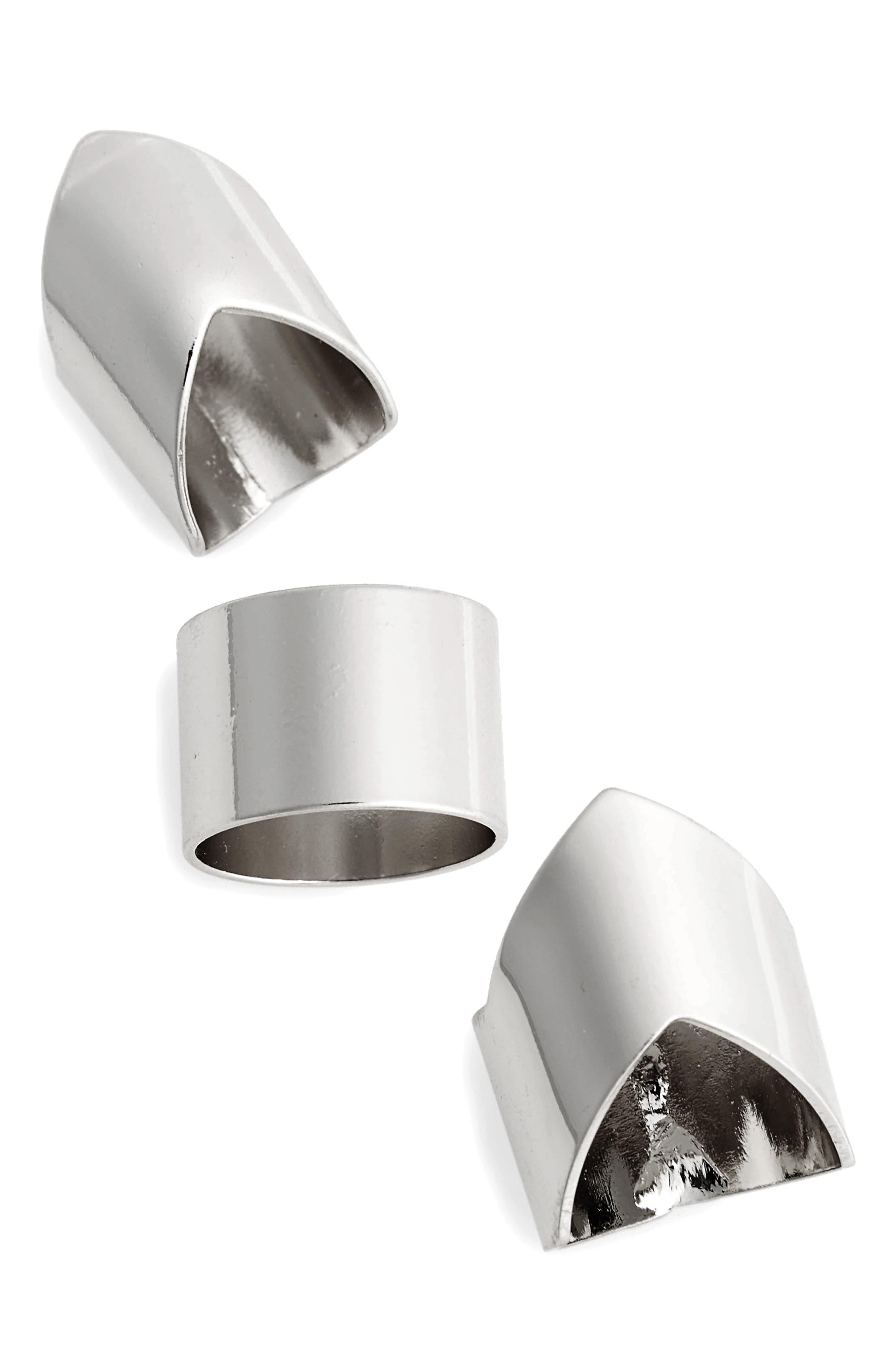 TOPSHOP V-Shape Set of 3 Rings, Main, color, 040