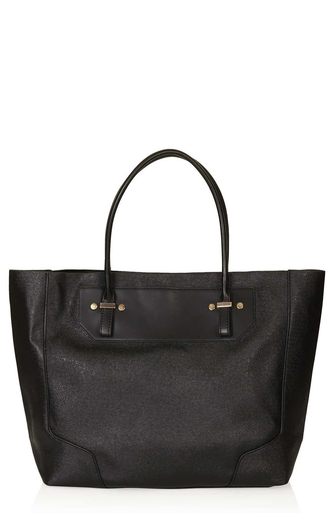 TOPSHOP, Faux Leather Tote, Main thumbnail 1, color, 001