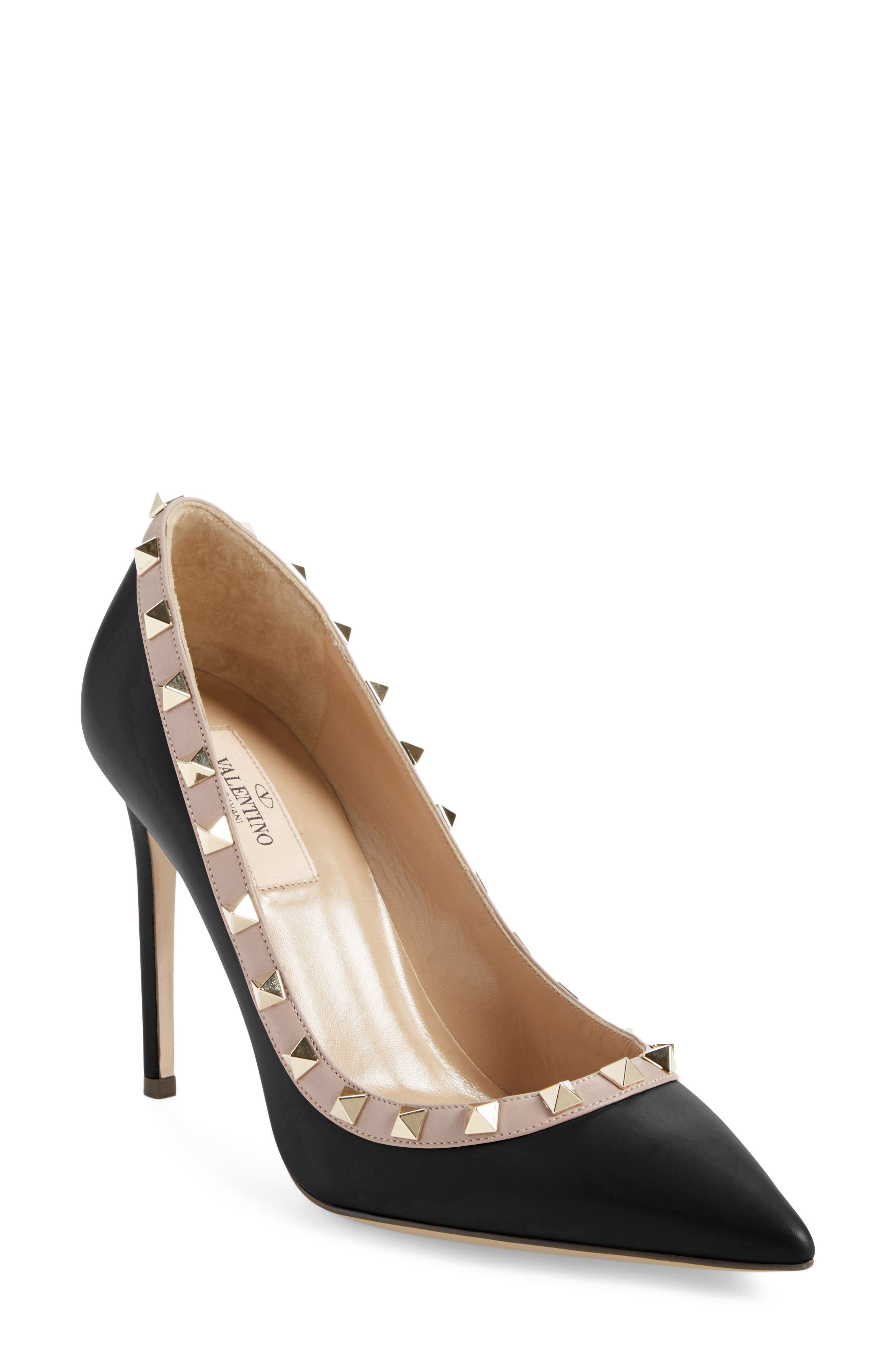 VALENTINO GARAVANI, Rockstud Pointy Toe Pump, Main thumbnail 1, color, BLACK/ NUDE LEATHER