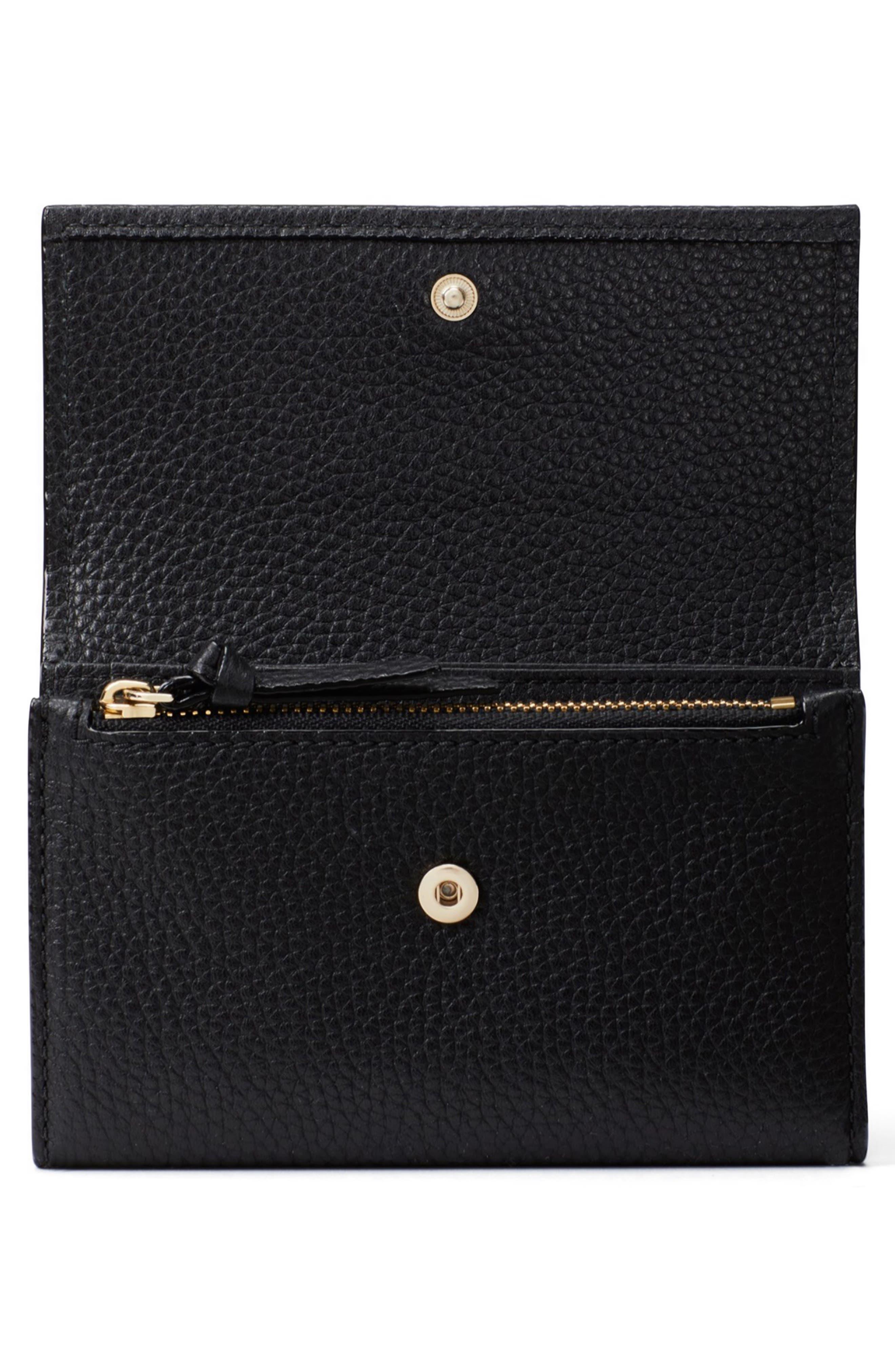 KATE SPADE NEW YORK, jackson street – meredith leather wallet, Alternate thumbnail 5, color, 001