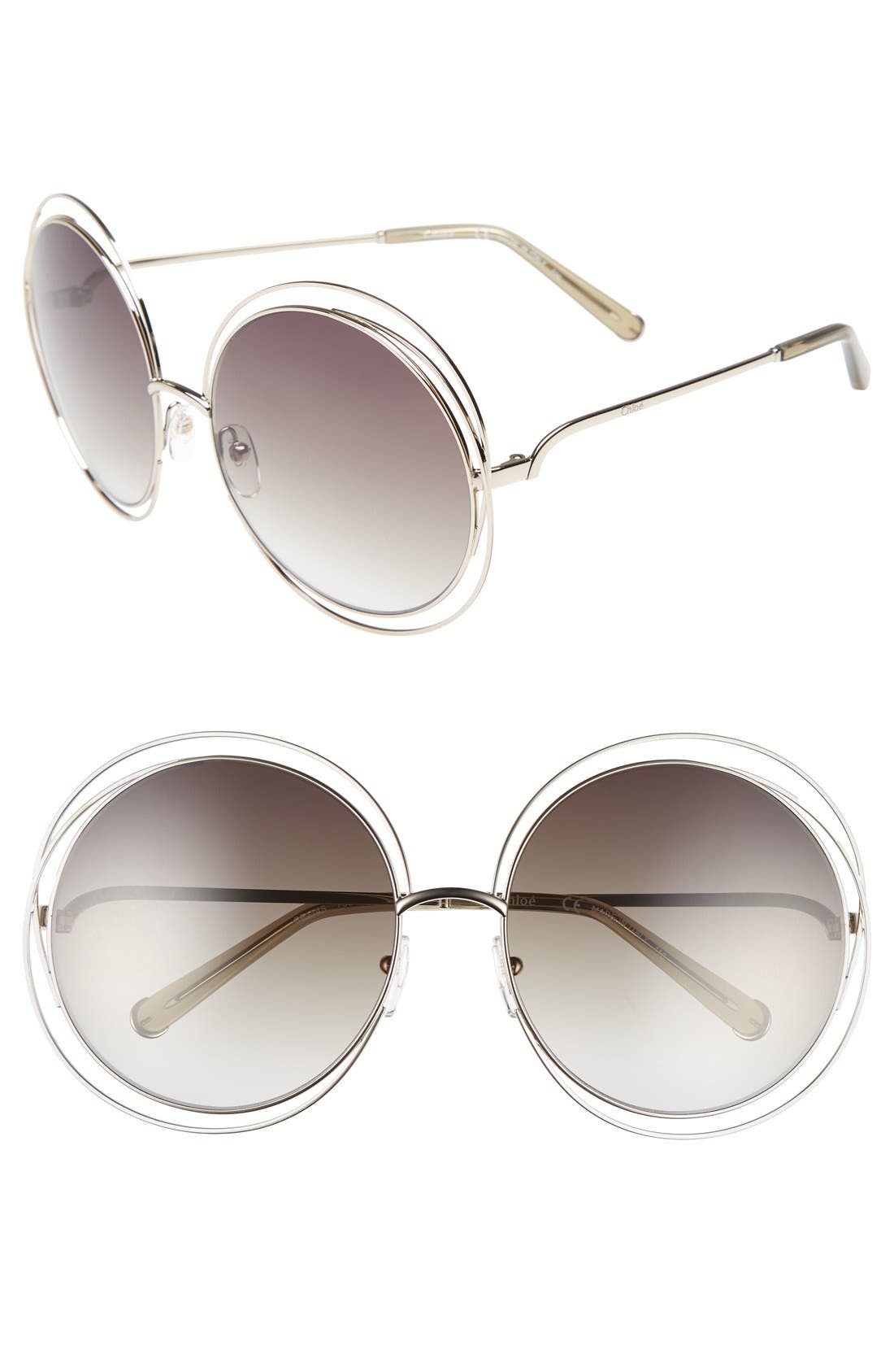CHLOÉ 62mm Oversize Sunglasses, Main, color, GOLD/ TRANSPARENT GREEN