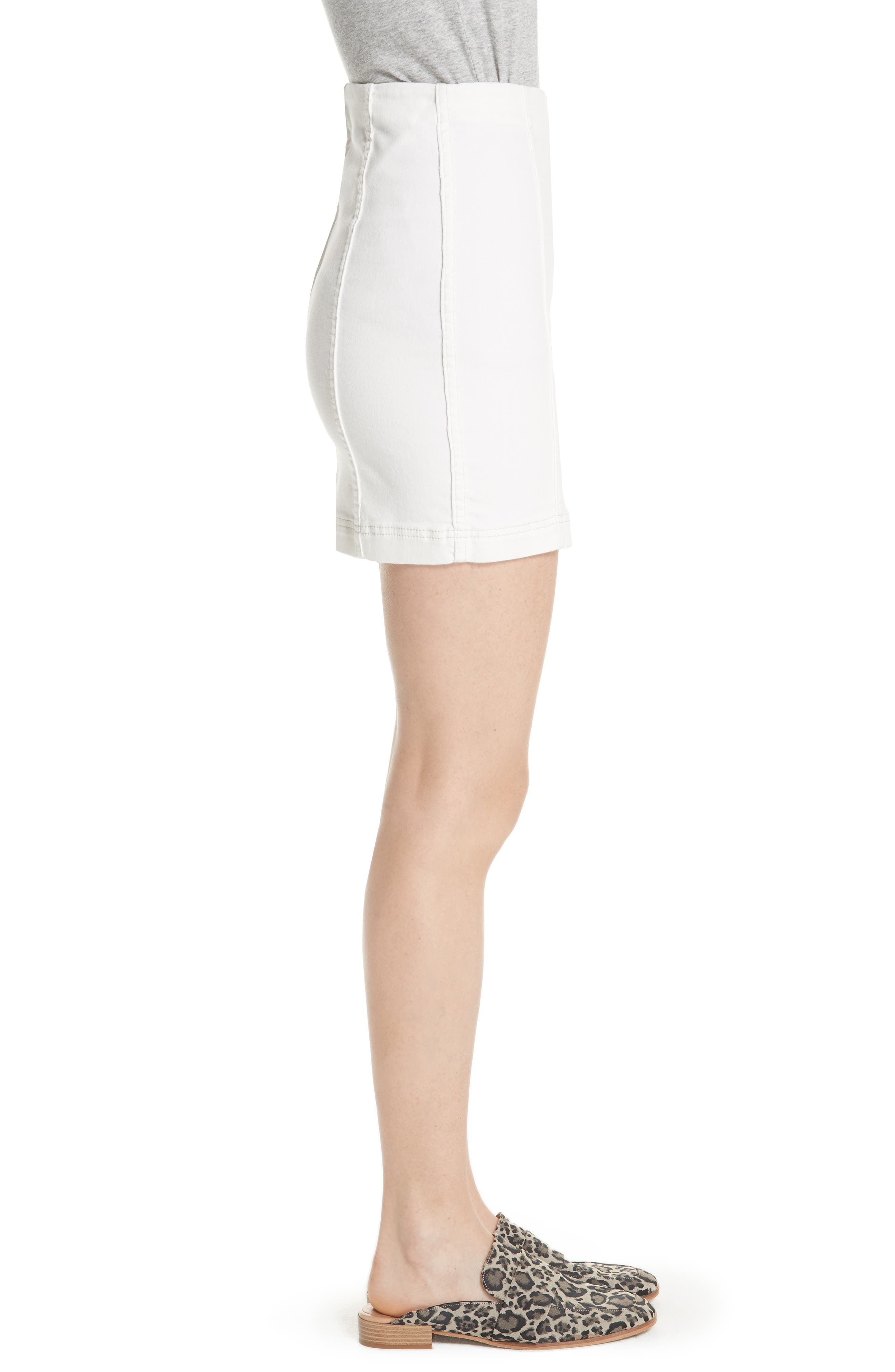FREE PEOPLE, We the Free by Free People Modern Denim Skirt, Alternate thumbnail 4, color, 100