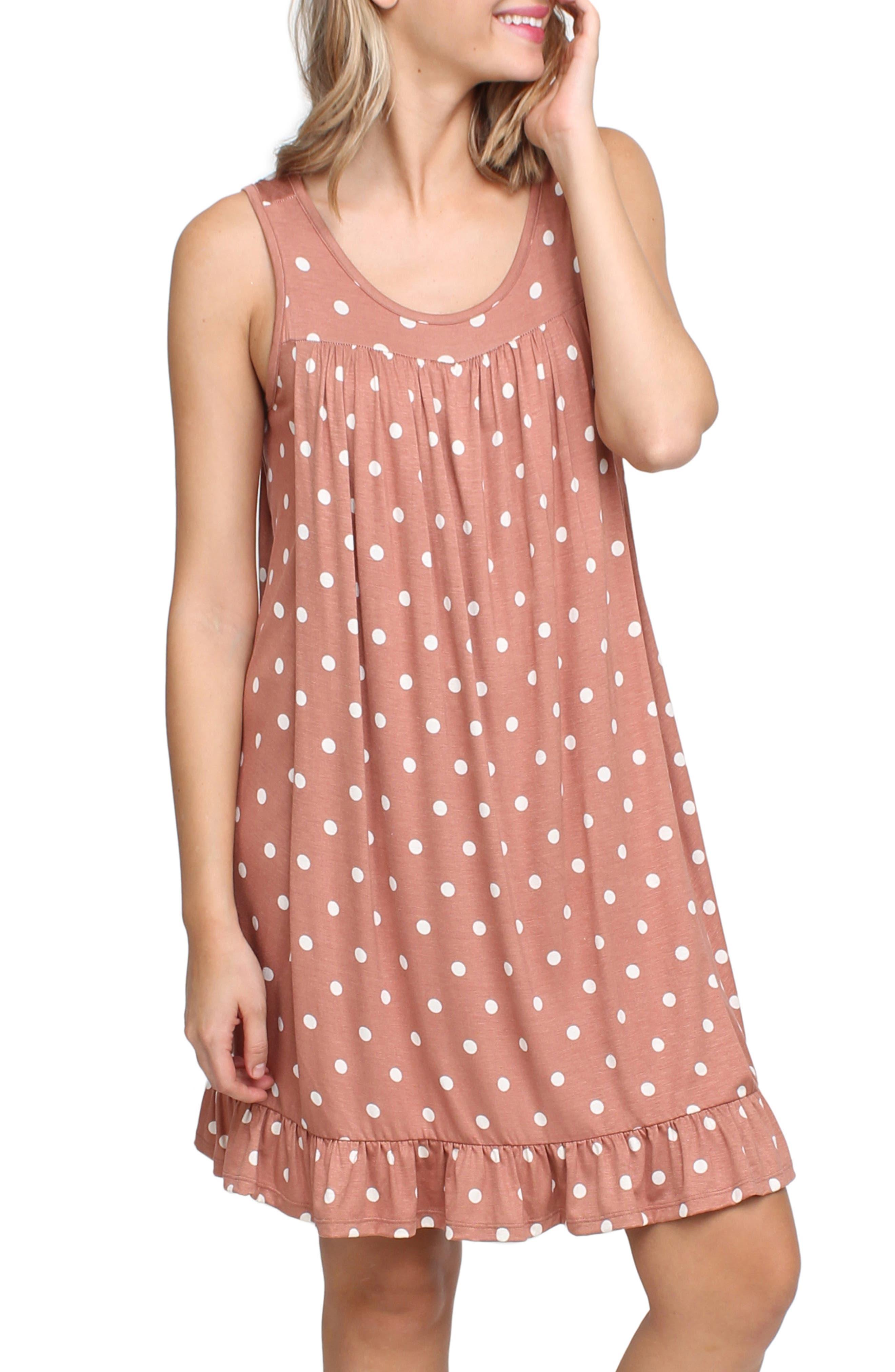 SAVI MOM Paris Maternity/Nursing Nightgown, Main, color, MAUVE POLKA DOT