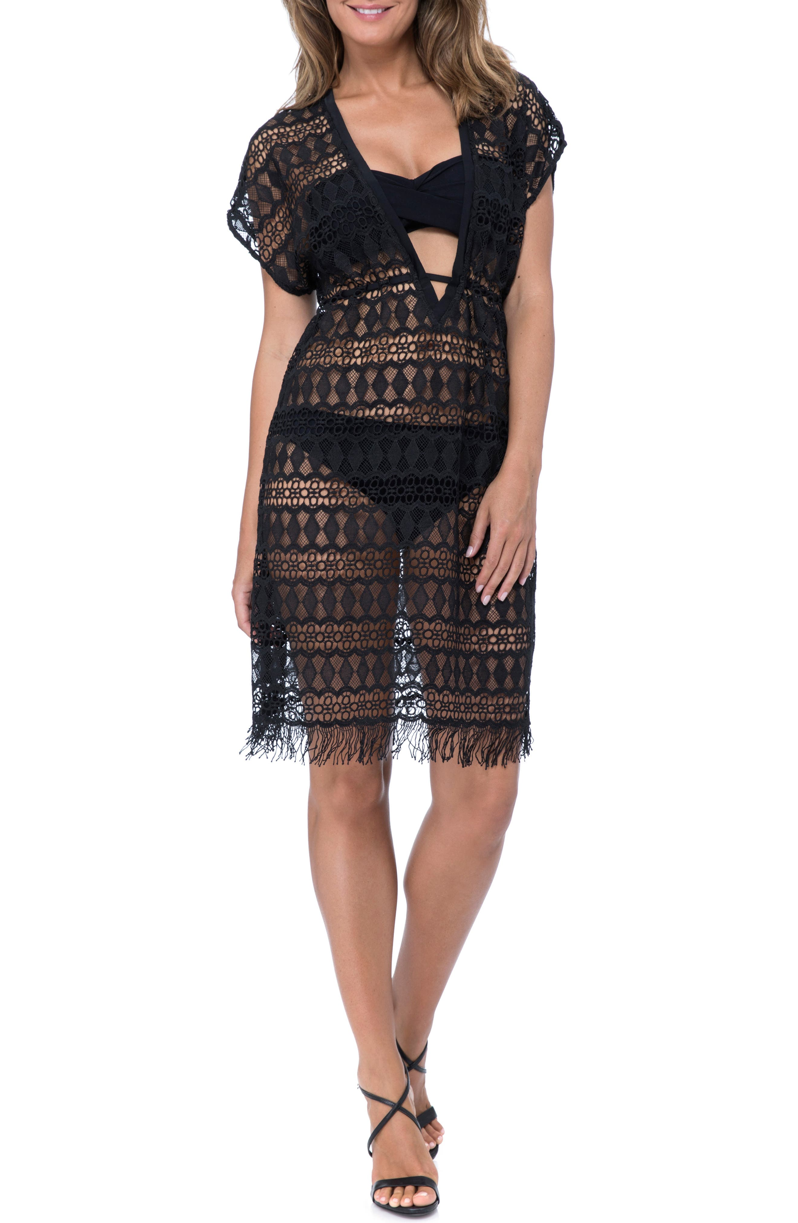PROFILE BY GOTTEX Crochet Cover-Up Dress, Main, color, BLACK