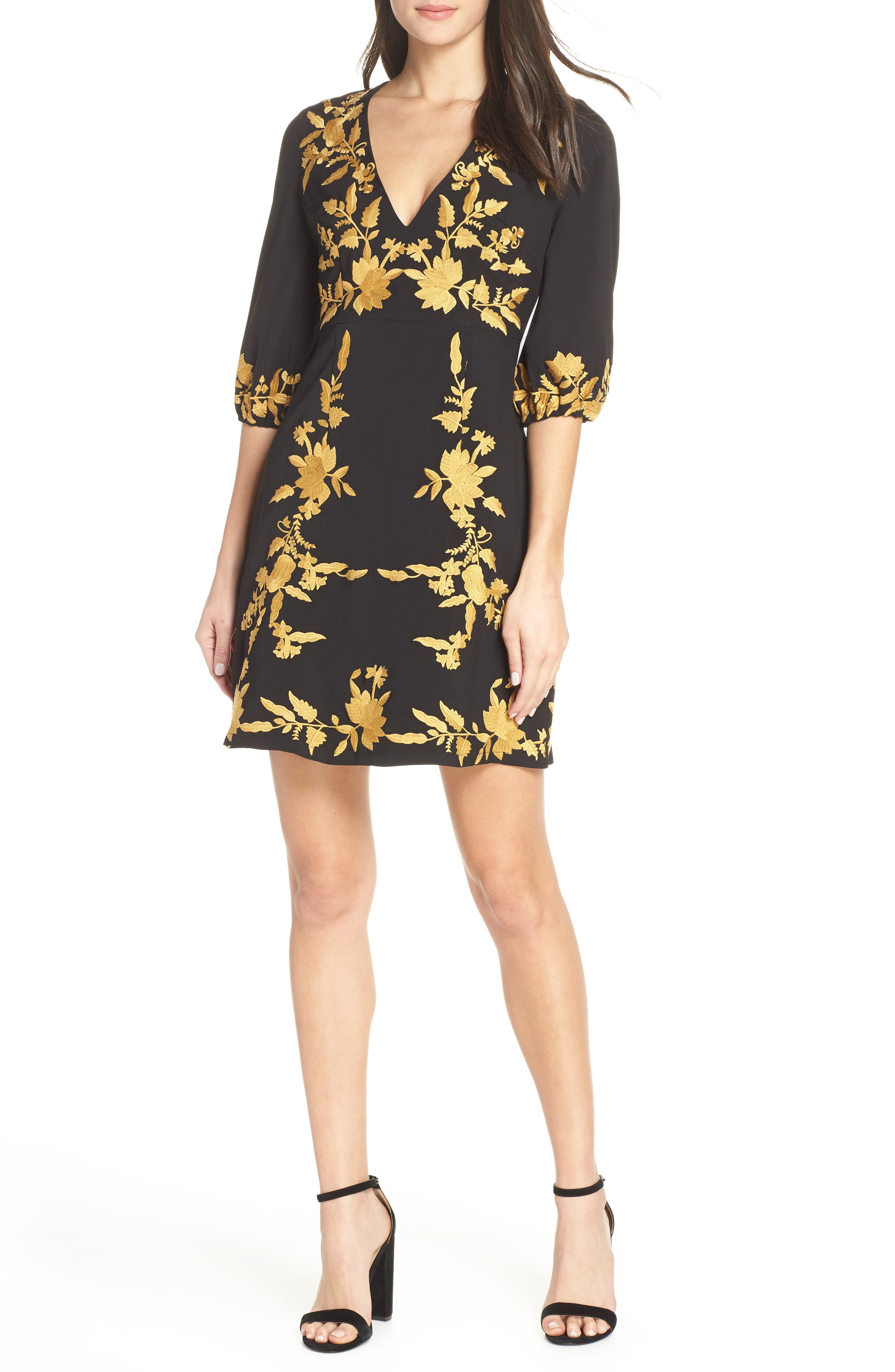 FOXIEDOX, Melia Embroidered Cocktail Dress, Main thumbnail 1, color, 001