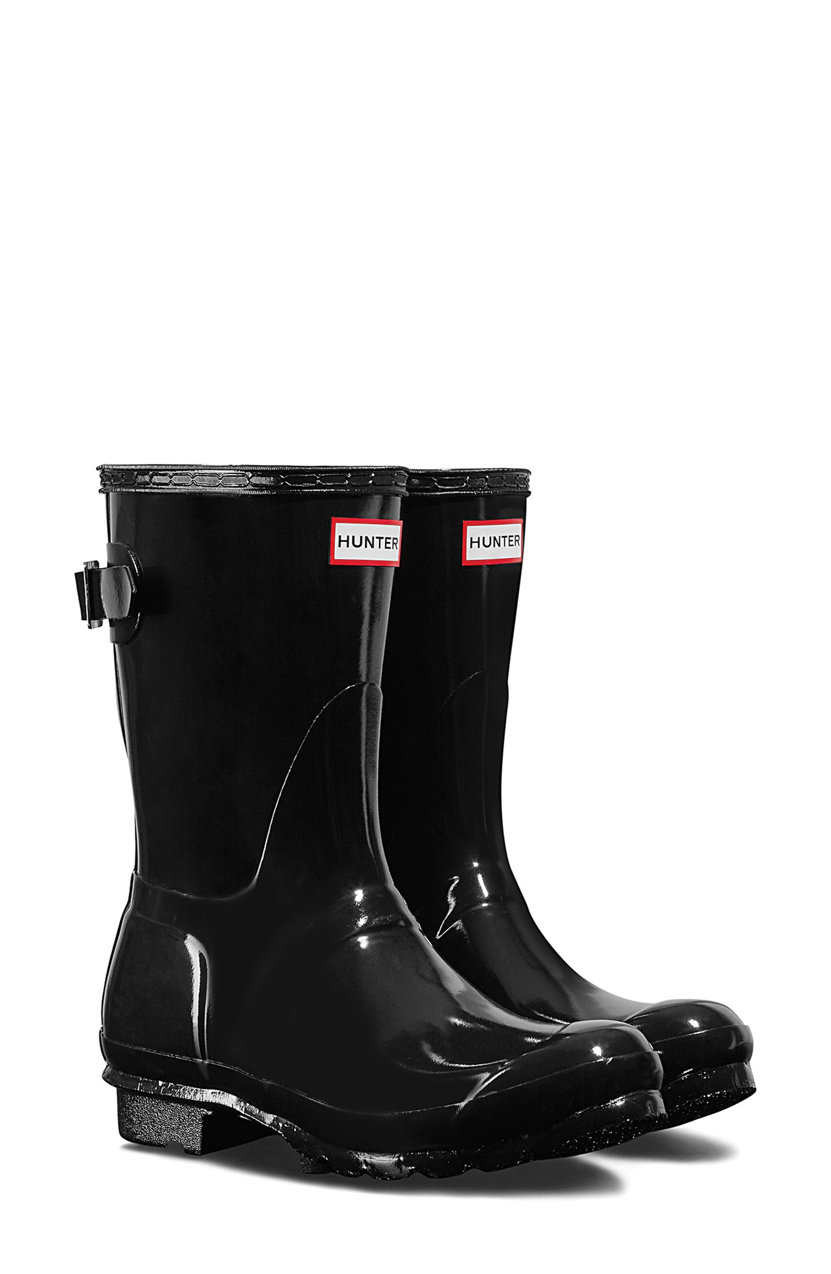 HUNTER, Original Short Adjustable Back Gloss Waterproof Rain Boot, Main thumbnail 1, color, BLACK