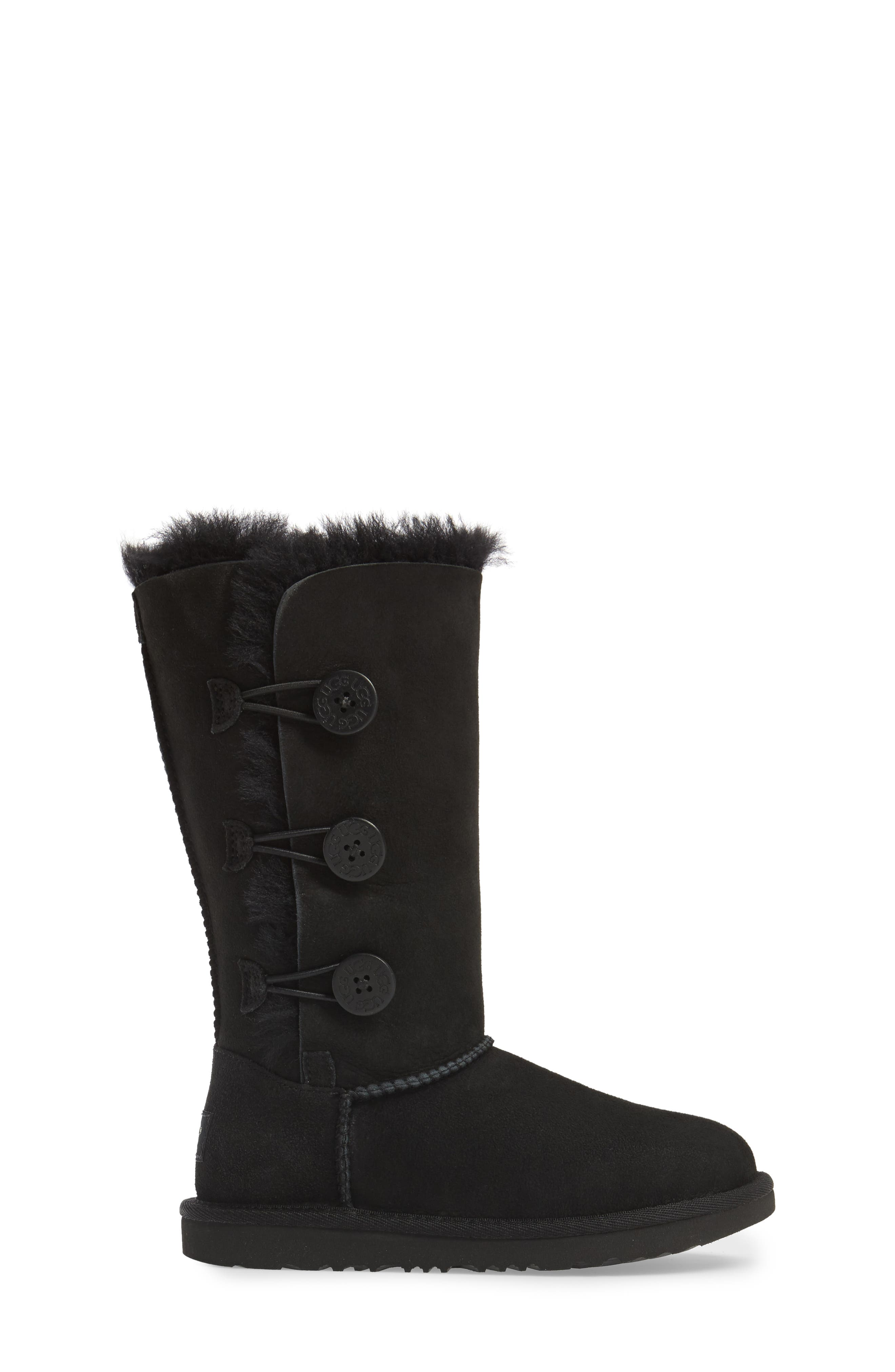 UGG<SUP>®</SUP>, Bailey Button Triplet II Genuine Shearling Boot, Alternate thumbnail 3, color, BLACK SUEDE