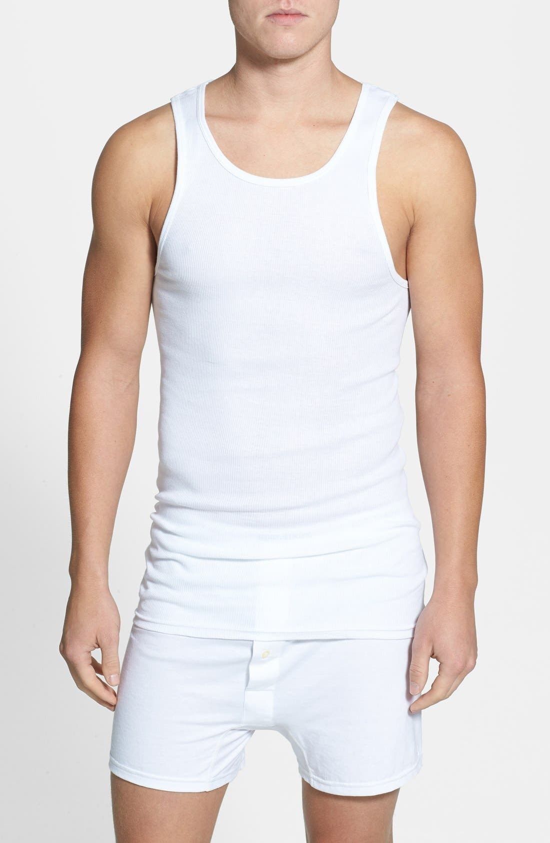 NORDSTROM MEN'S SHOP 4-Pack Supima<sup>®</sup> Cotton Athletic Tanks, Main, color, WHITE