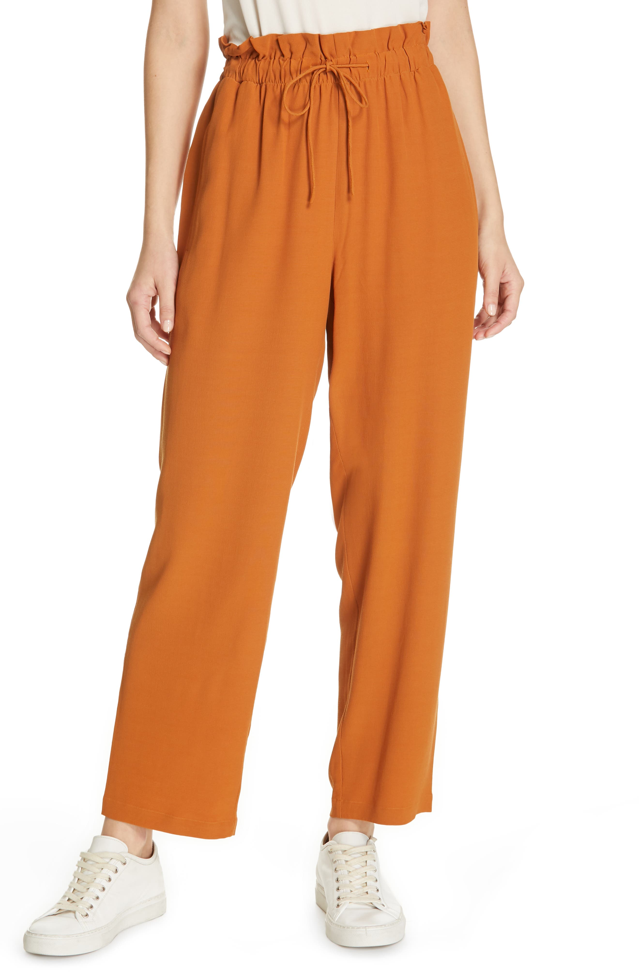 EILEEN FISHER Crepe Pants, Main, color, MUSK