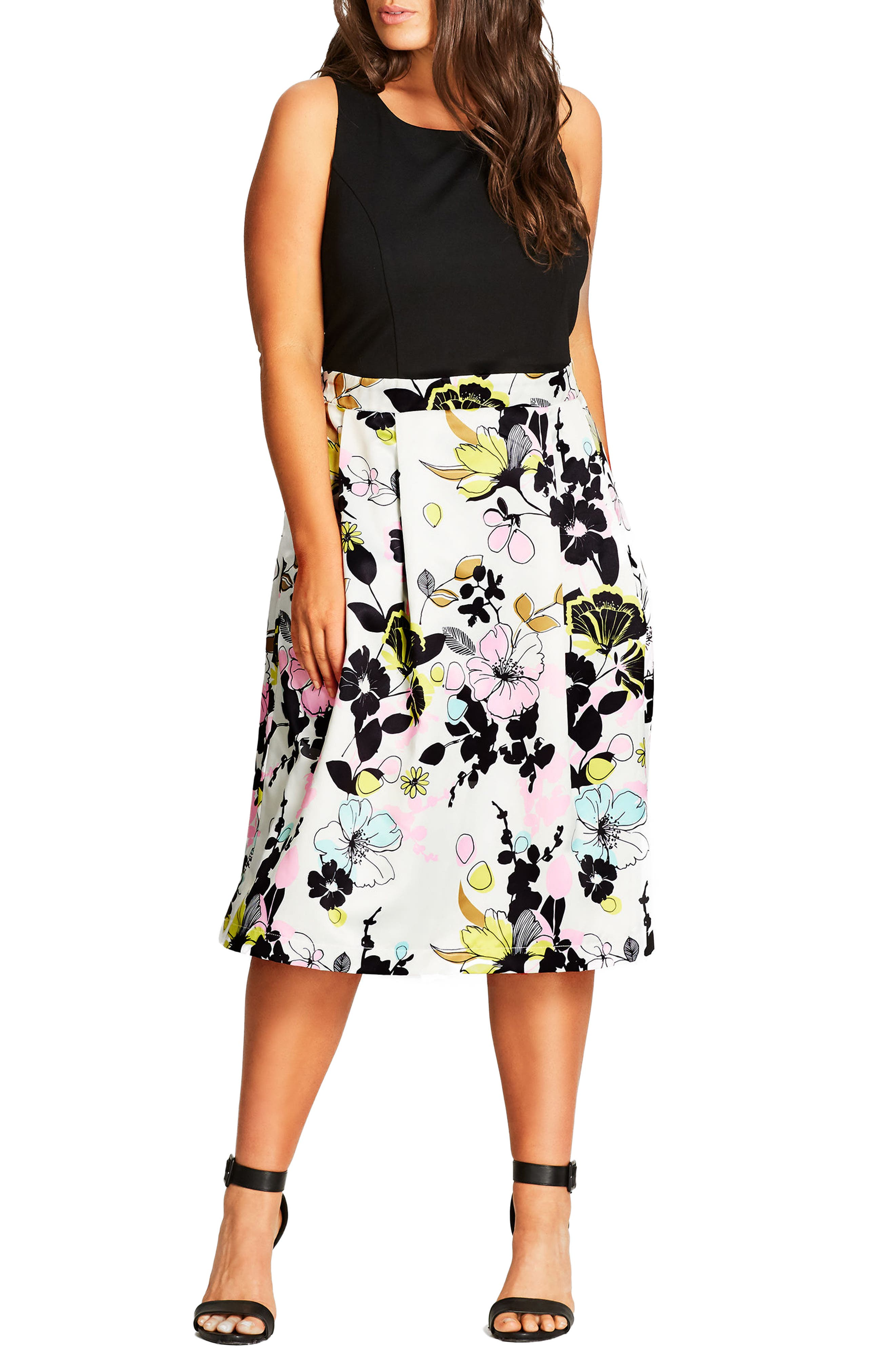 CITY CHIC Art Darling Fit & Flare Dress, Main, color, WHITE PRINT
