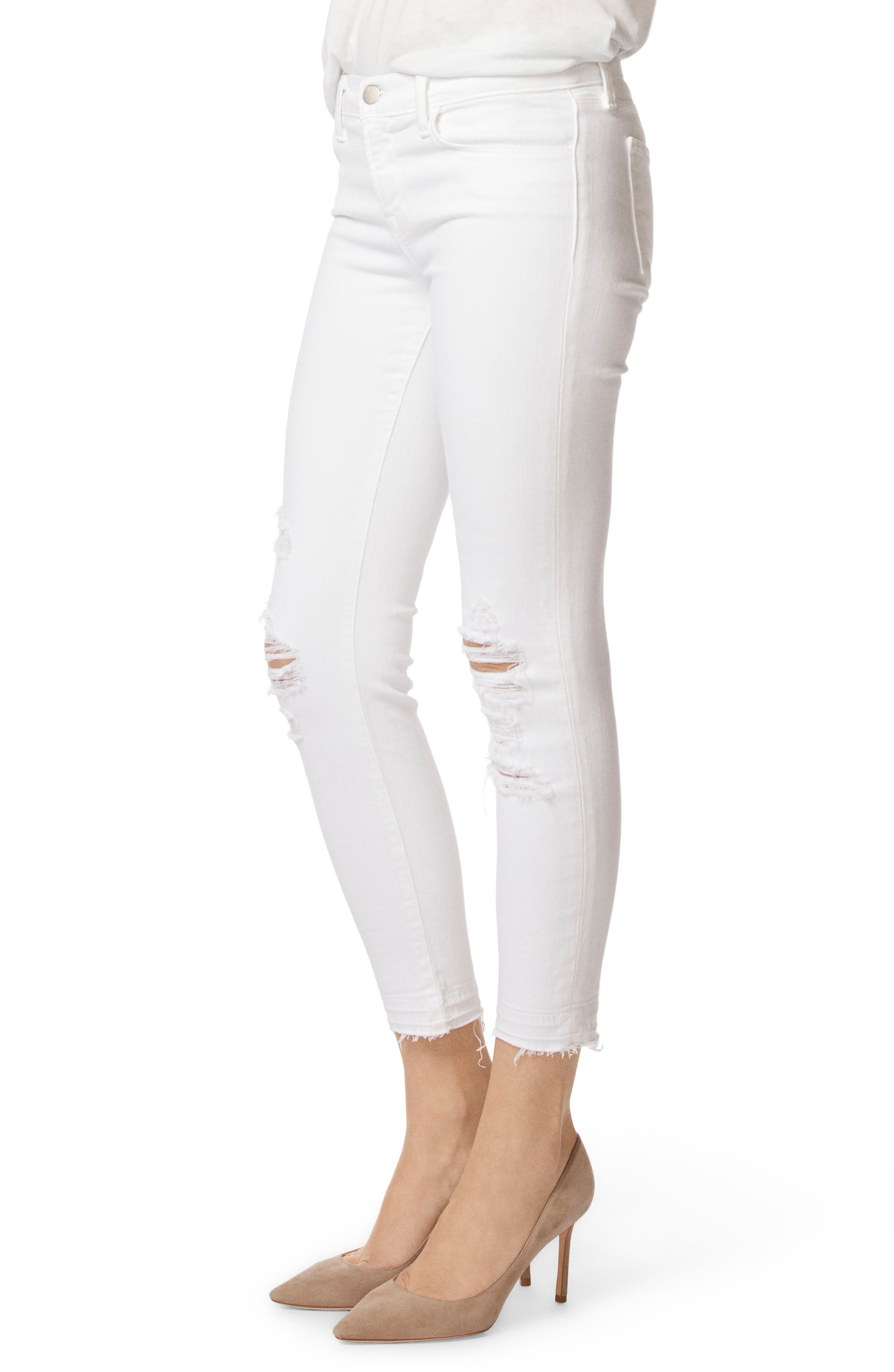 J BRAND, 9326 Low Rise Crop Skinny Jeans, Alternate thumbnail 4, color, DEMENTED WHITE DESTRUCTED