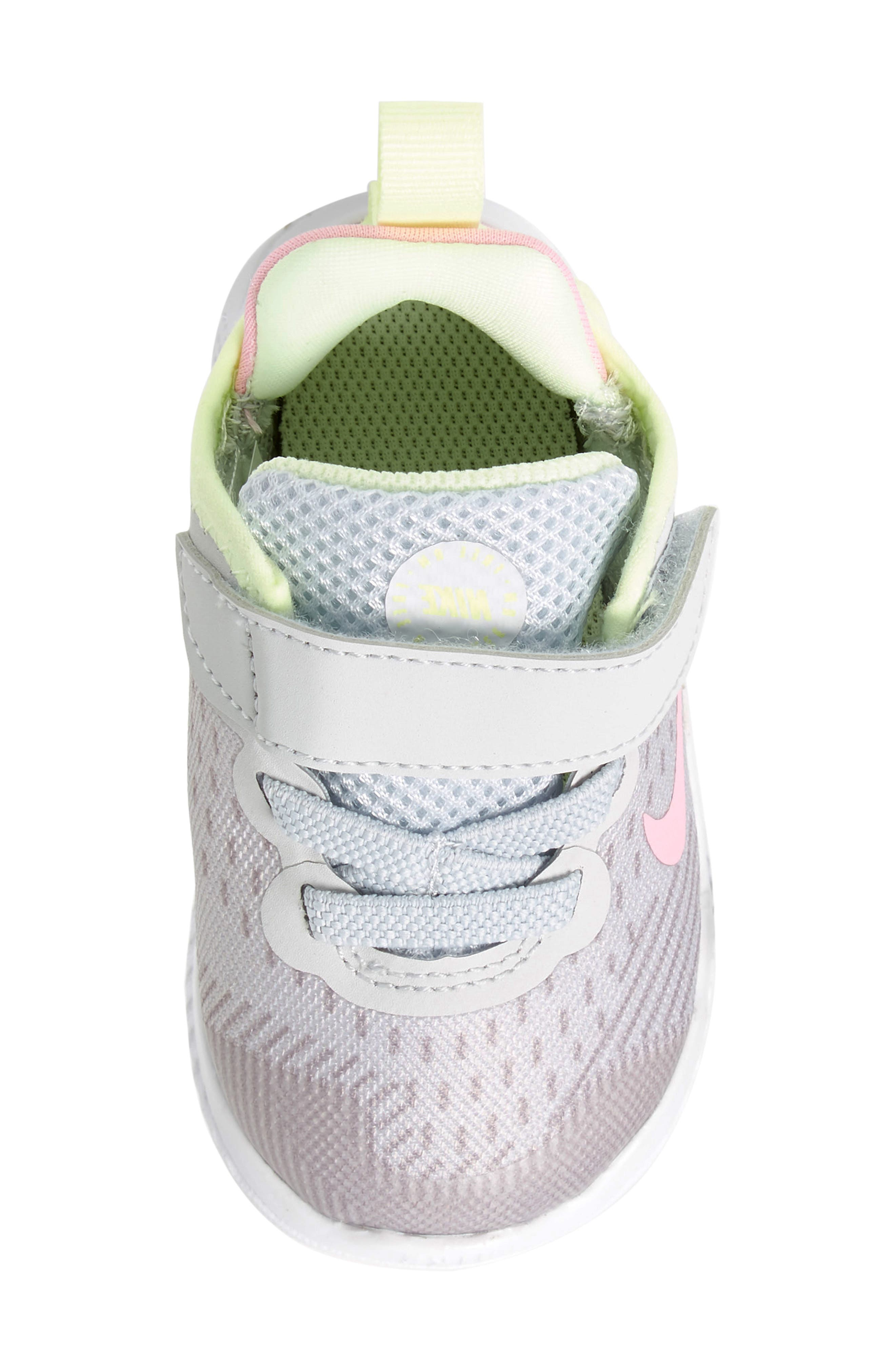 NIKE, Free RN Running Shoe, Alternate thumbnail 5, color, PURE PLATINUM/ PINK RISE-VOLT