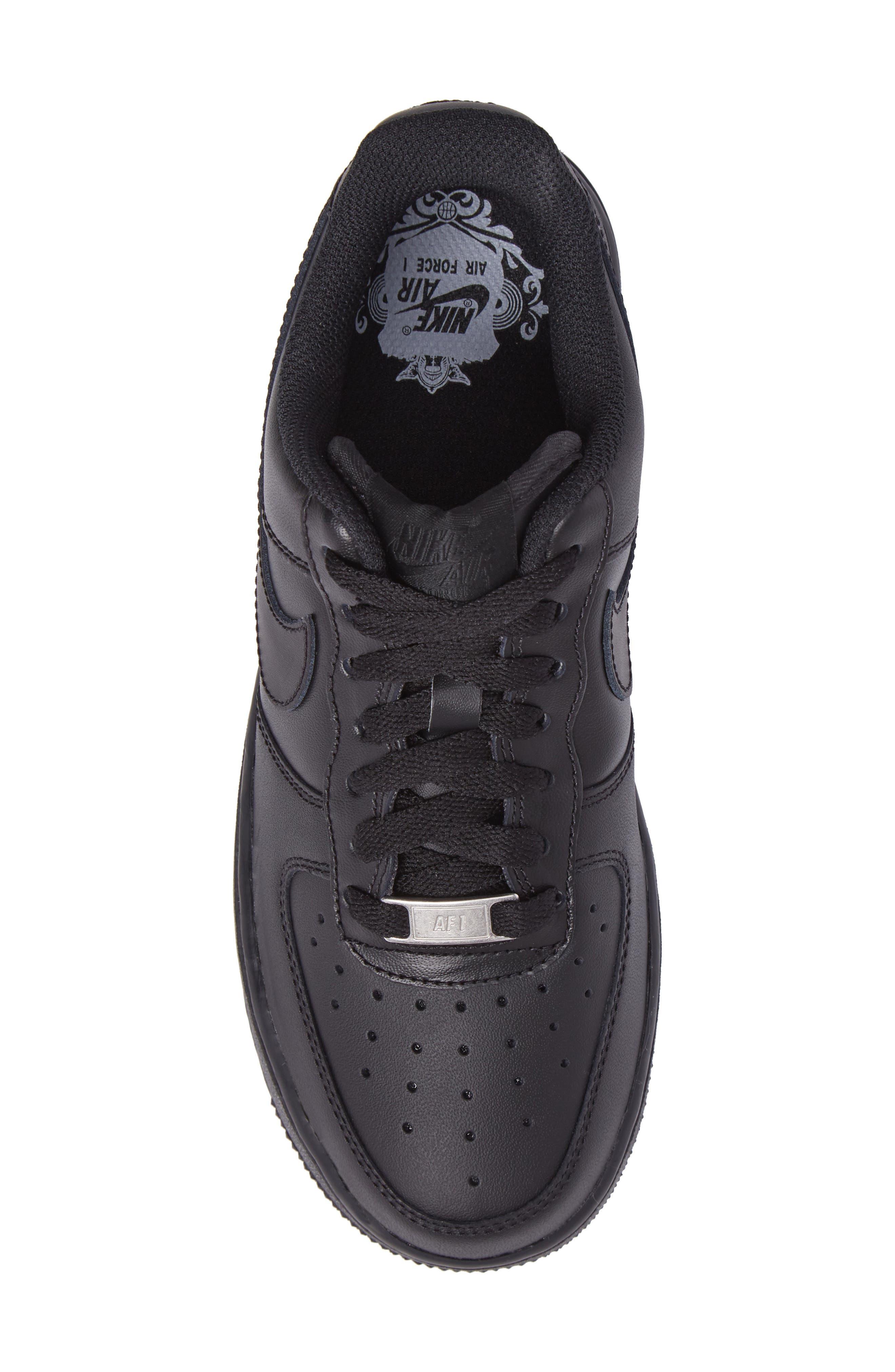 NIKE, 'Air Force 1' Basketball Sneaker, Alternate thumbnail 5, color, BLACK/ BLACK