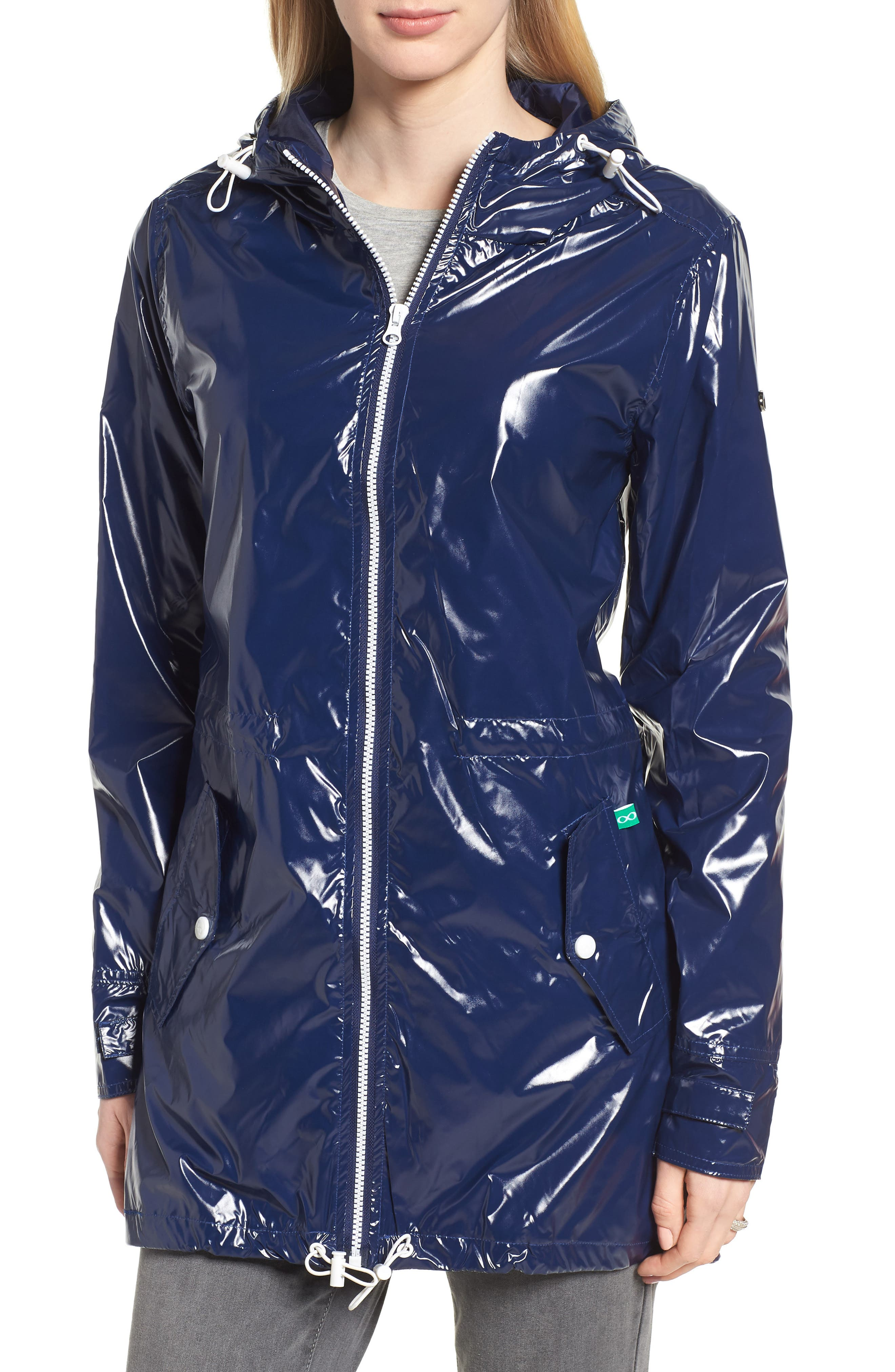 MODERN ETERNITY, Waterproof Convertible 3-in-1 Maternity Raincoat, Alternate thumbnail 2, color, BRIGHT NAVY