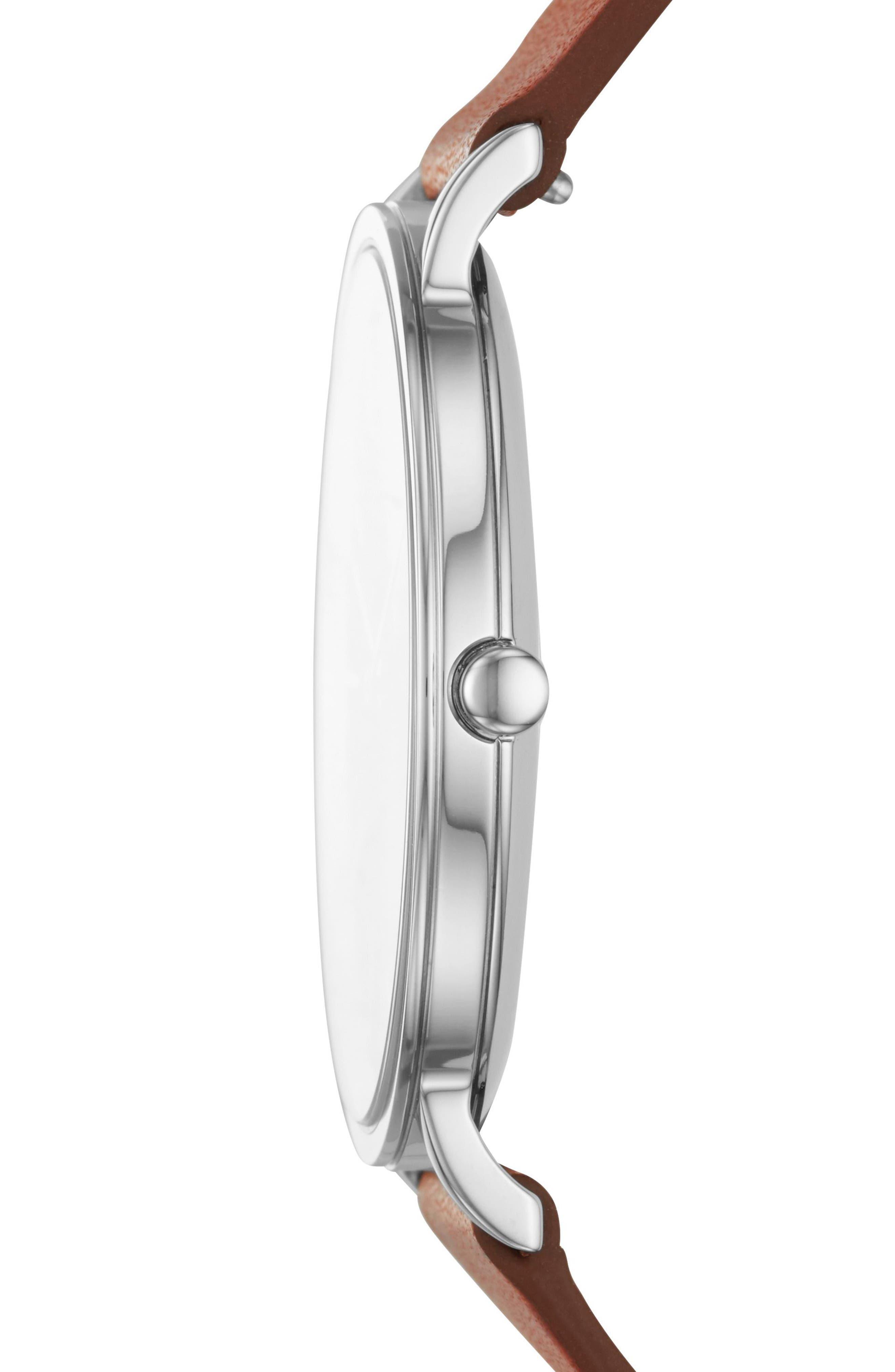 SKAGEN, Hagen Slim Leather Strap Watch, 38mm, Alternate thumbnail 2, color, 200