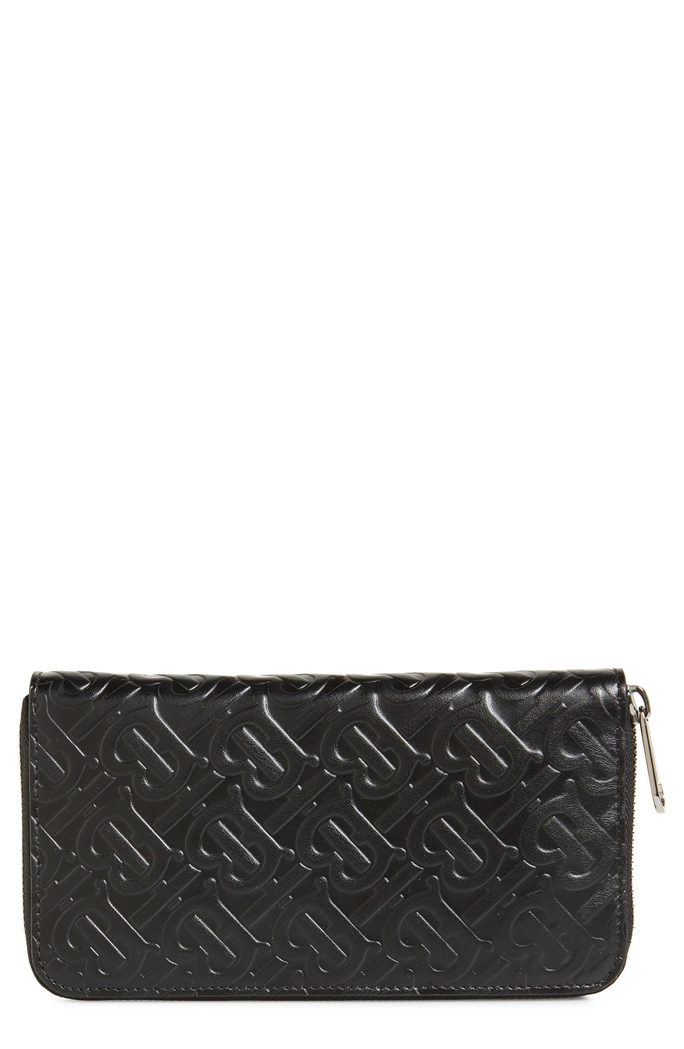 BURBERRY, Large Monogram Leather Wallet, Main thumbnail 1, color, BLACK
