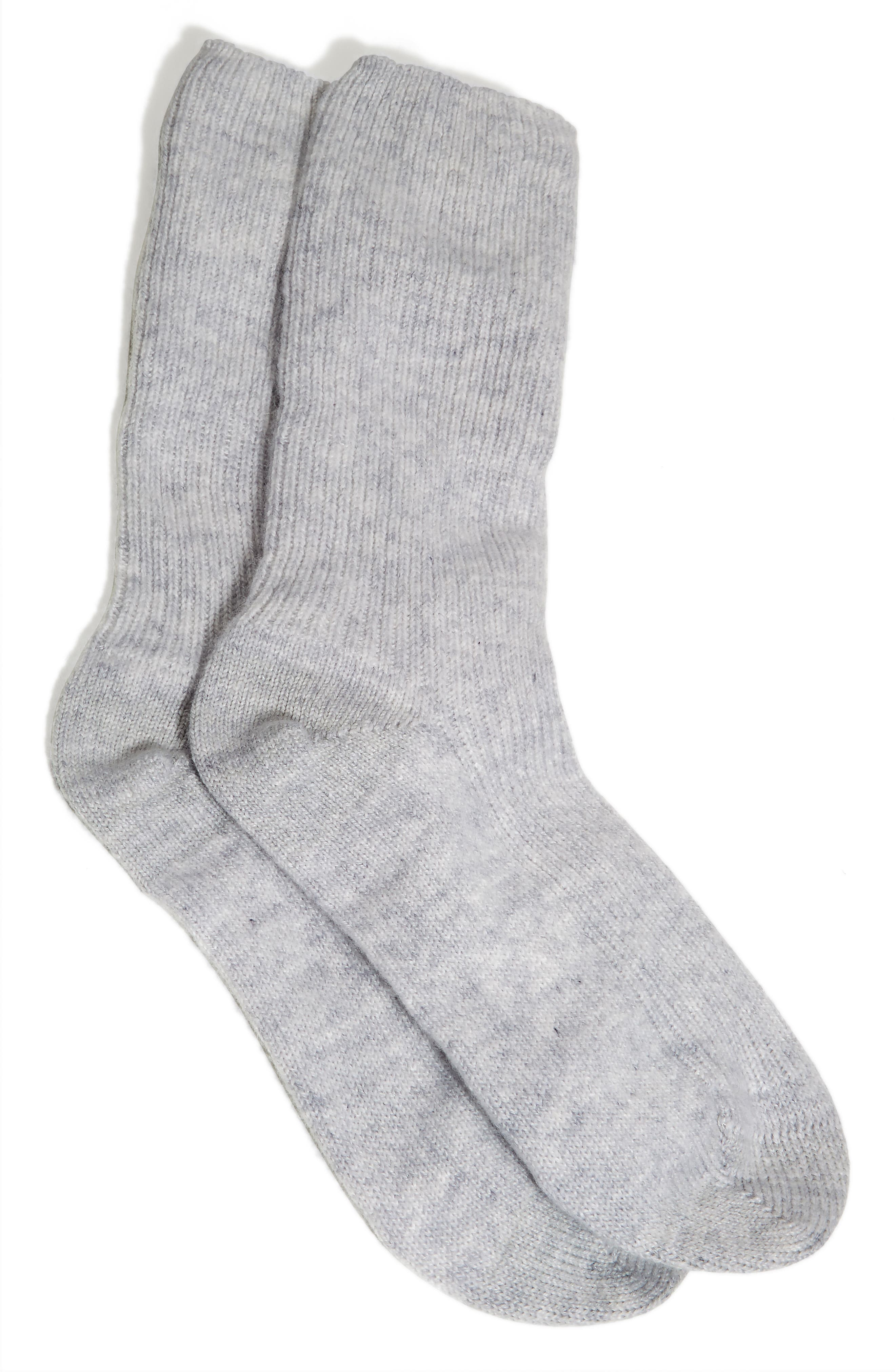 THE WHITE COMPANY Cashmere Bed Socks, Main, color, SILVER GREY HEATHER
