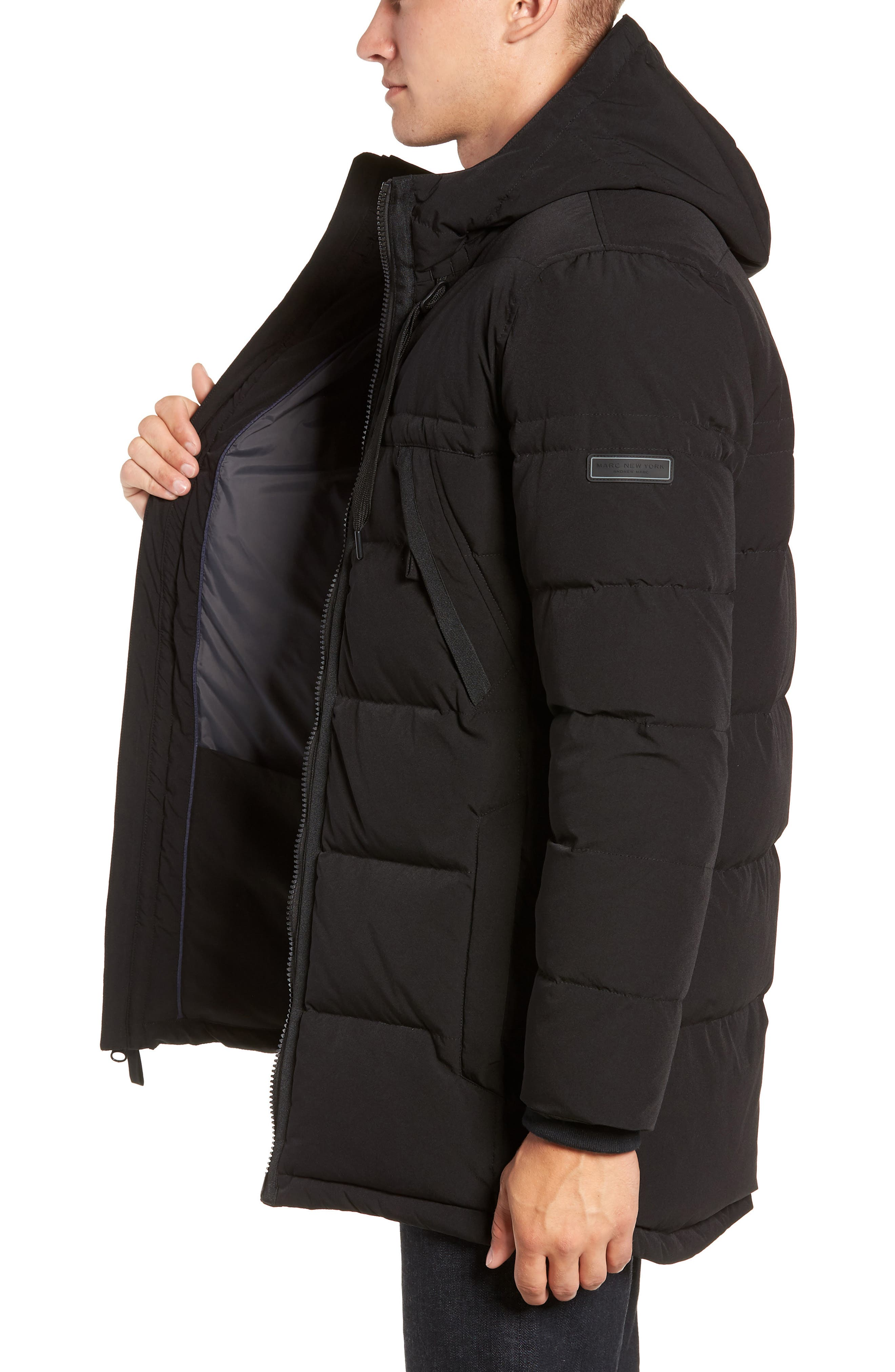 MARC NEW YORK, Holden Down & Feather Parka, Alternate thumbnail 3, color, BLACK