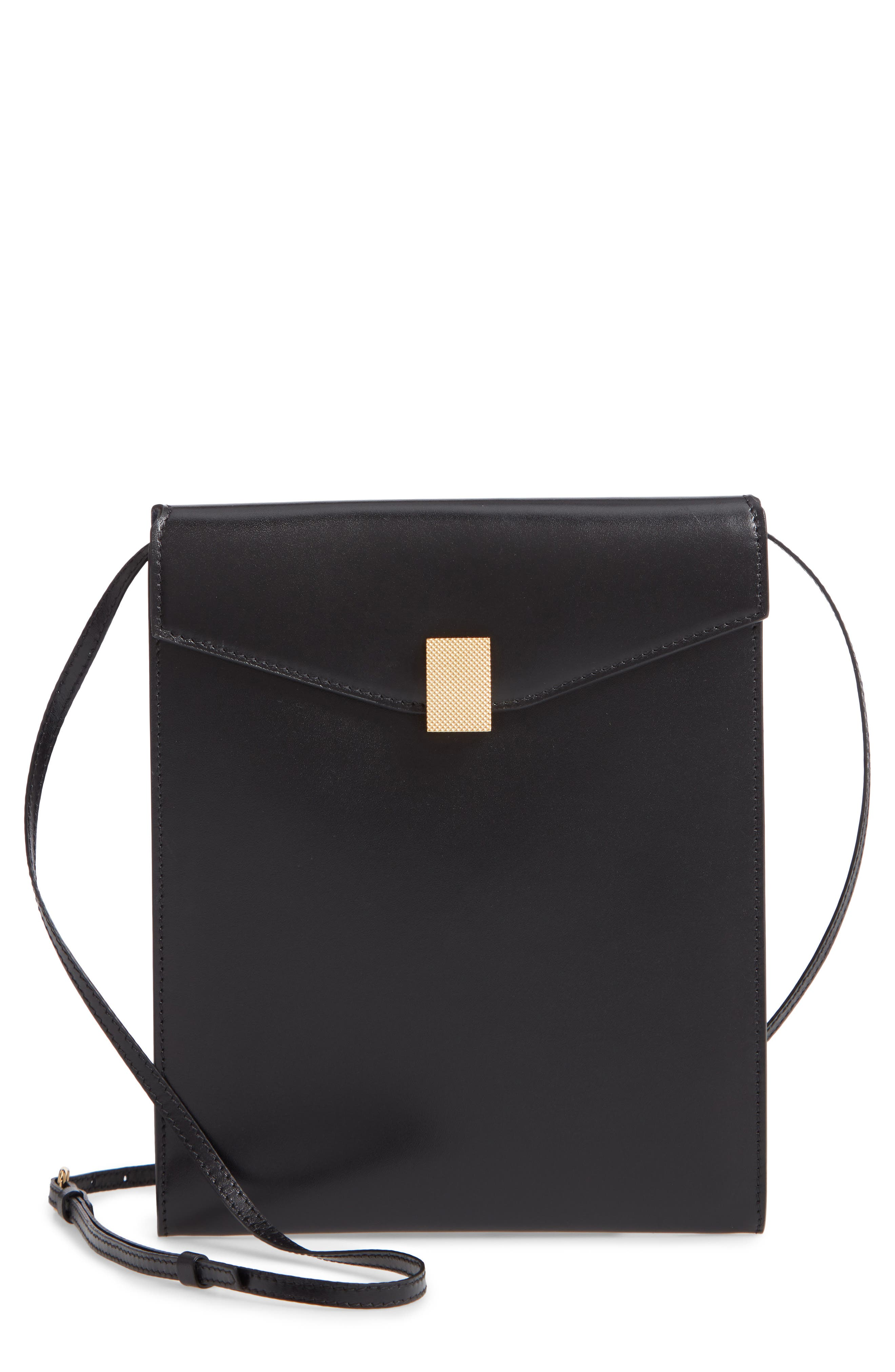 VICTORIA BECKHAM, Postino Leather Crossbody Bag, Main thumbnail 1, color, BLACK