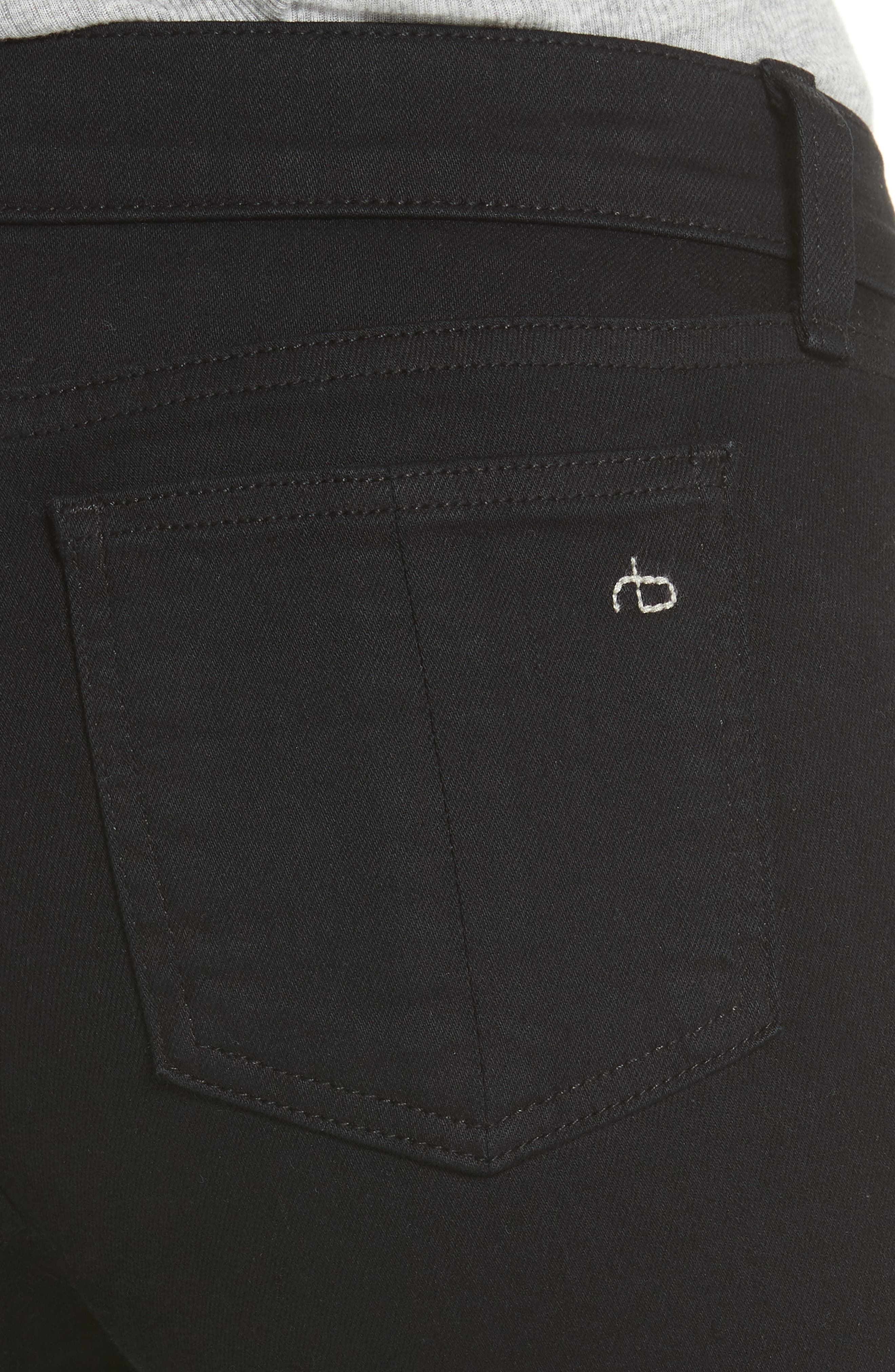 RAG & BONE, 'The Skinny' Stretch Jeans, Alternate thumbnail 6, color, COAL