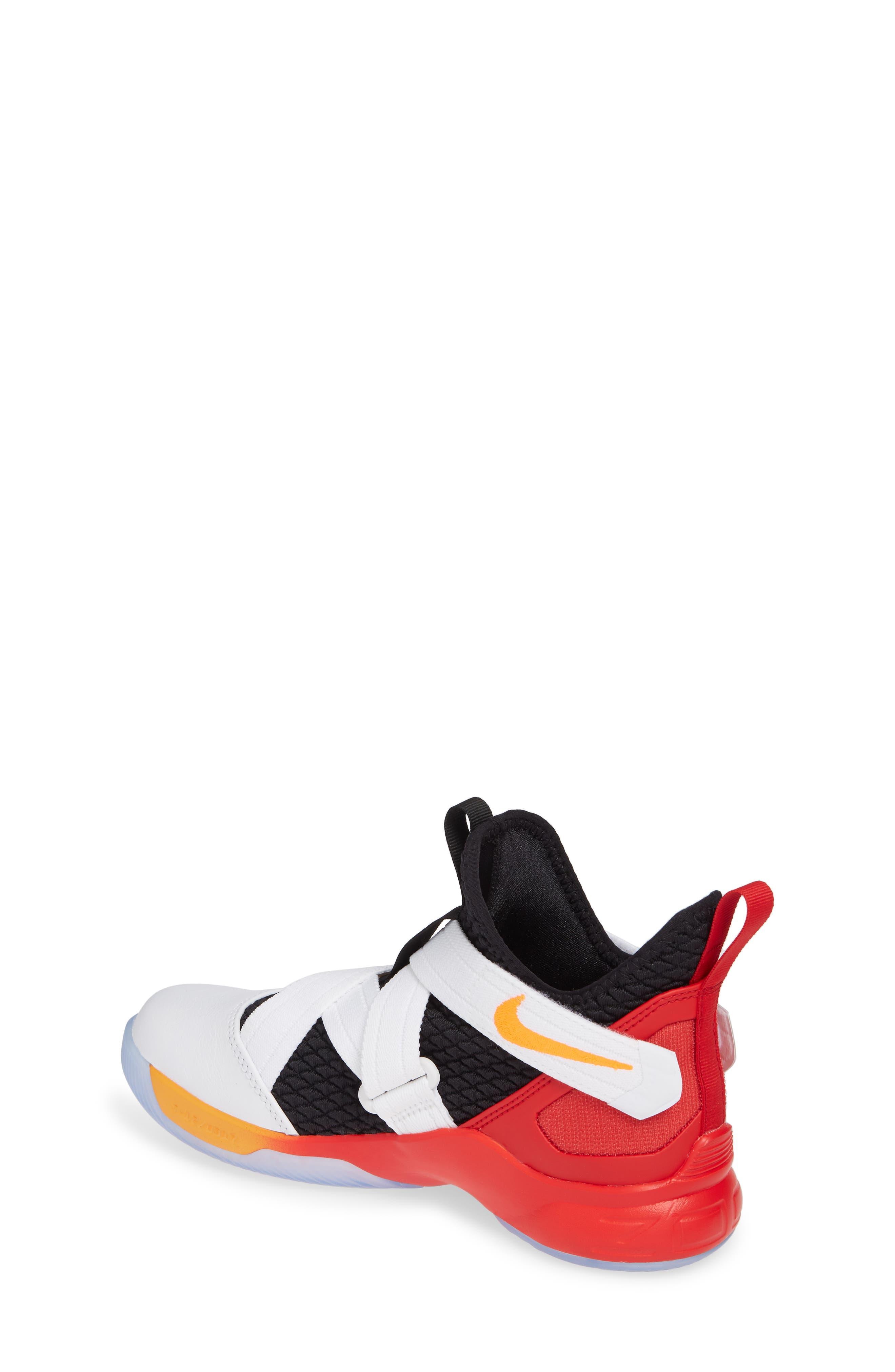 NIKE, LeBron Soldier XII Basketball Shoe, Alternate thumbnail 2, color, WHITE/ LASER ORANGE-BLACK-RED
