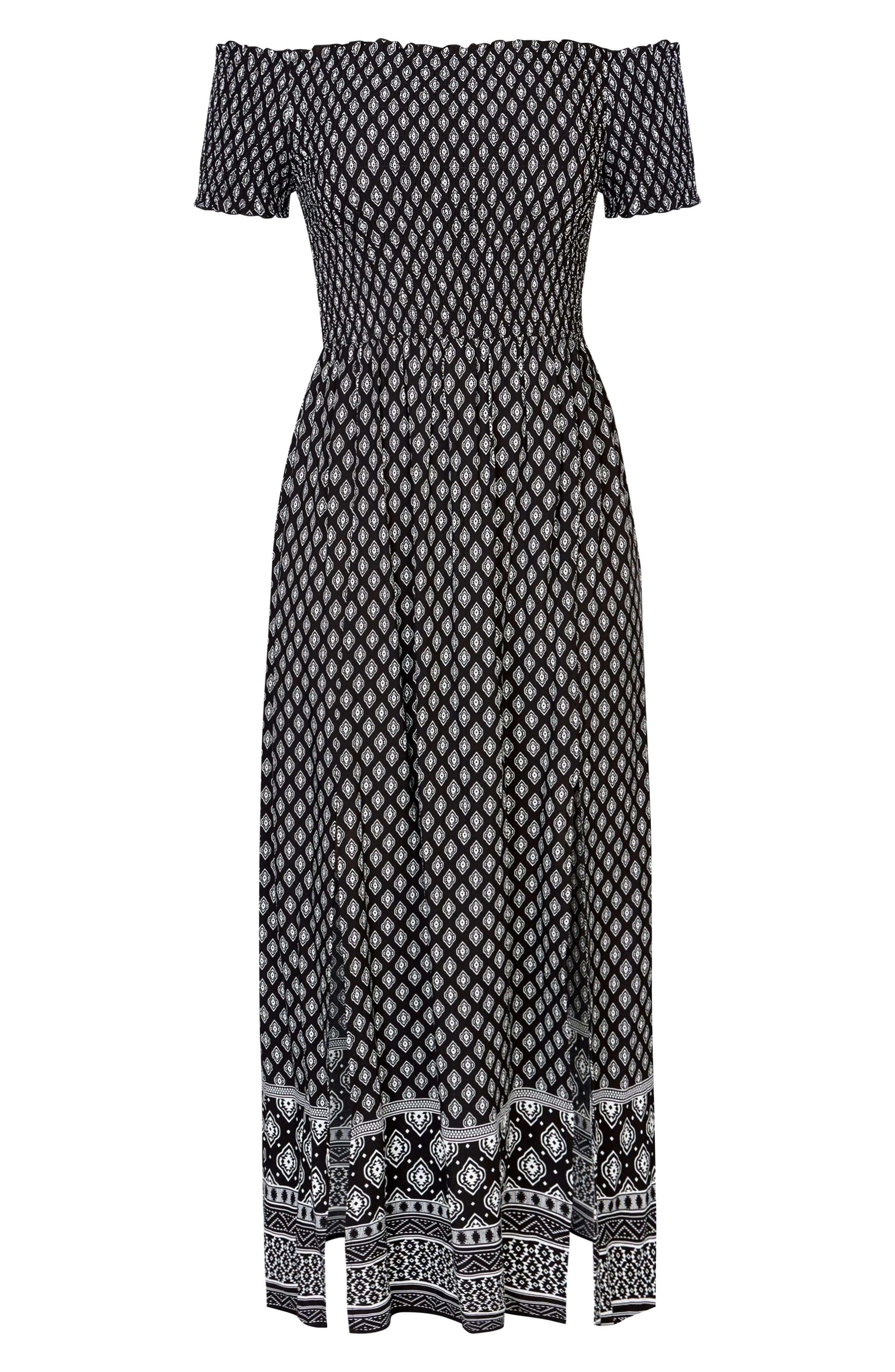 CITY CHIC, Smocked Off the Shoulder Maxi Dress, Alternate thumbnail 3, color, BLACK PRINT