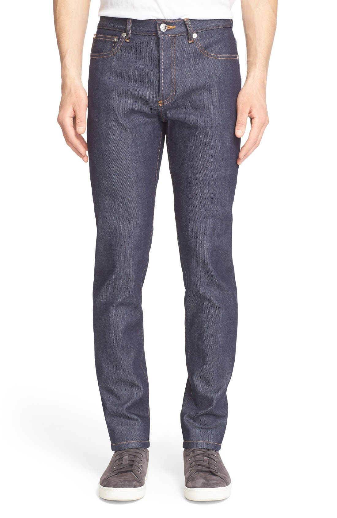 A.P.C., Petite New Standard Skinny Fit Jeans, Main thumbnail 1, color, INDIGO