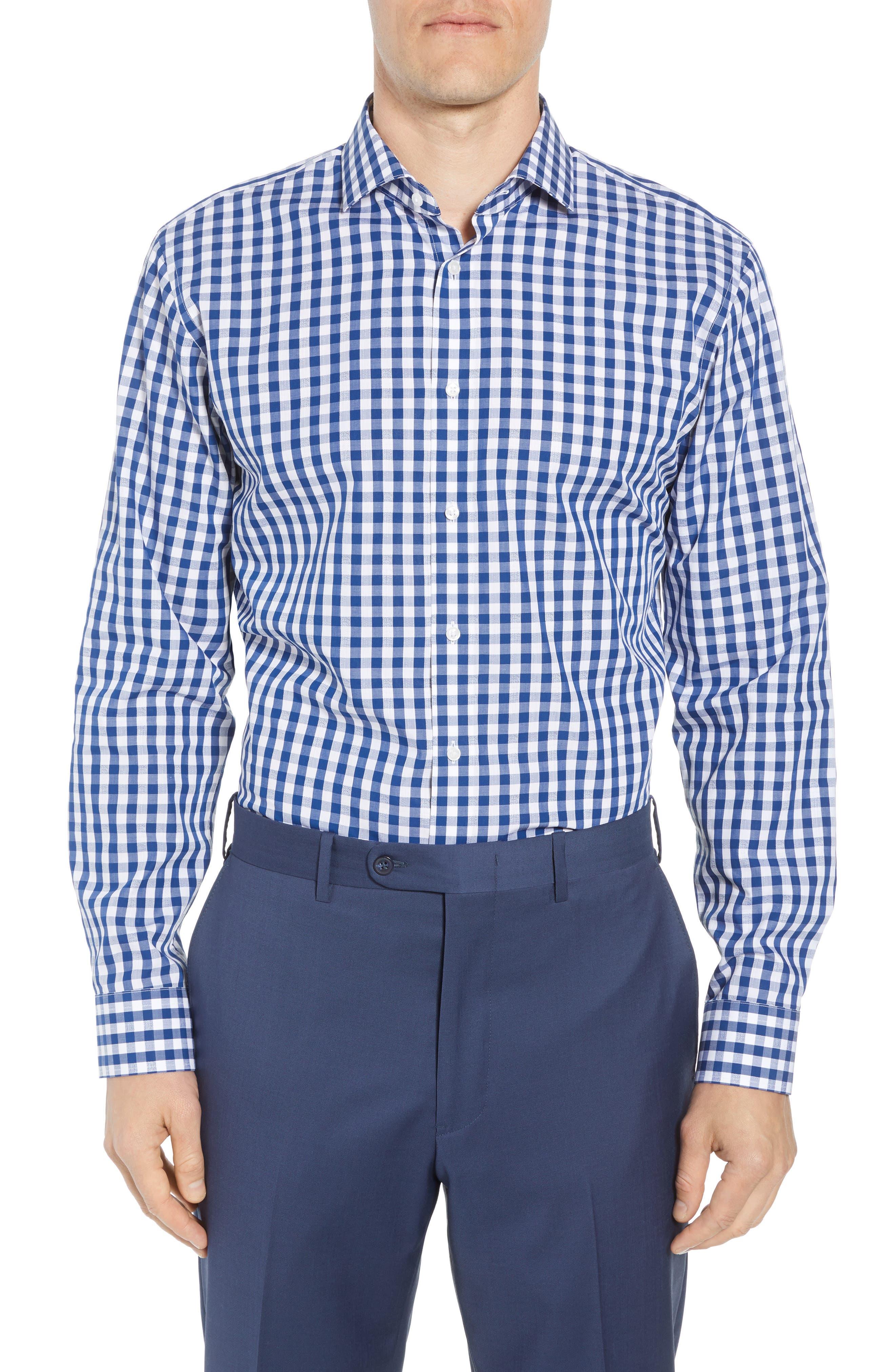 1901, Trim Fit Check Dress Shirt, Main thumbnail 1, color, BLUE CASPIA