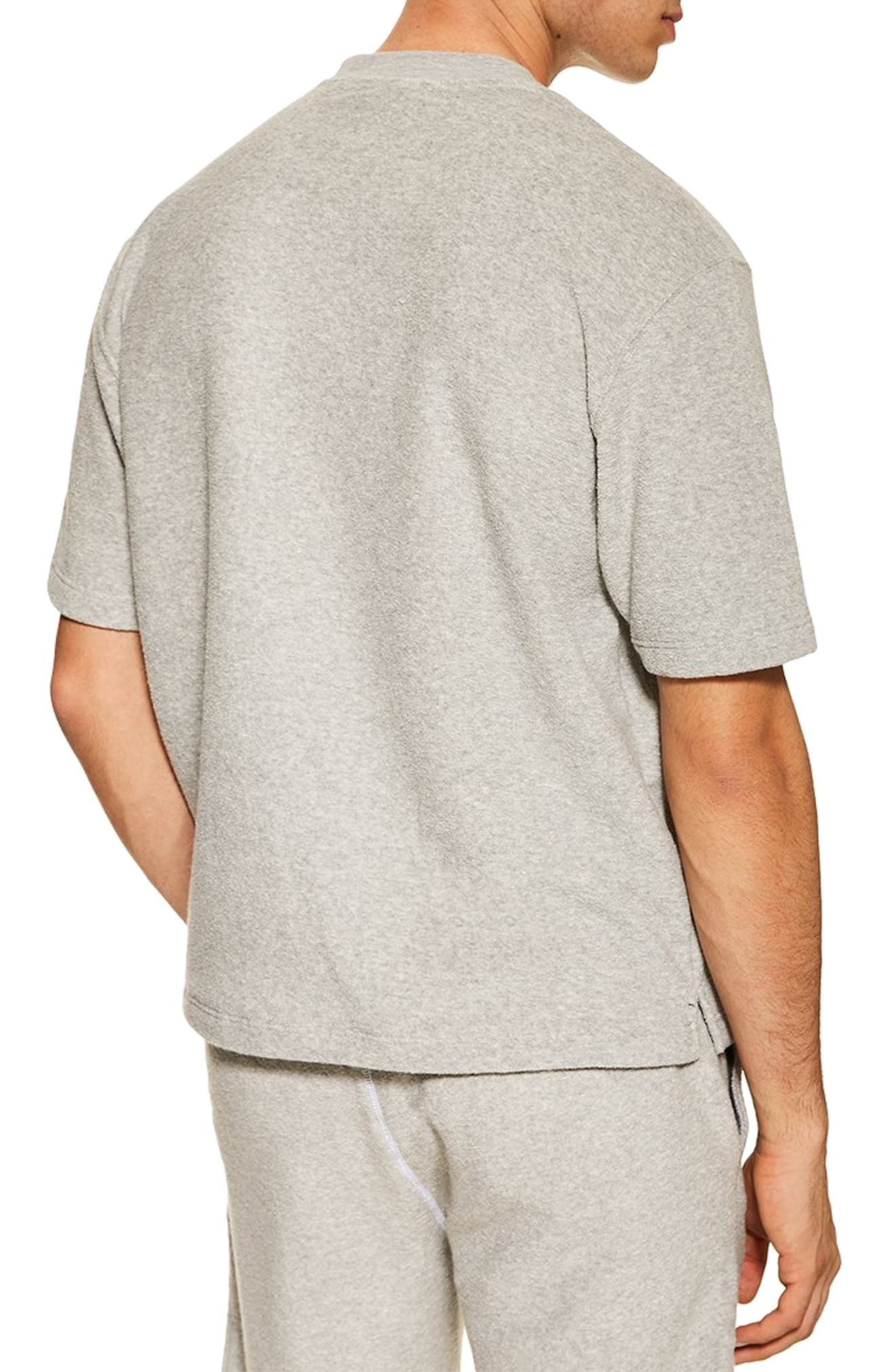 TOPMAN, Short Sleeve Terry Sweatshirt, Alternate thumbnail 2, color, GREY